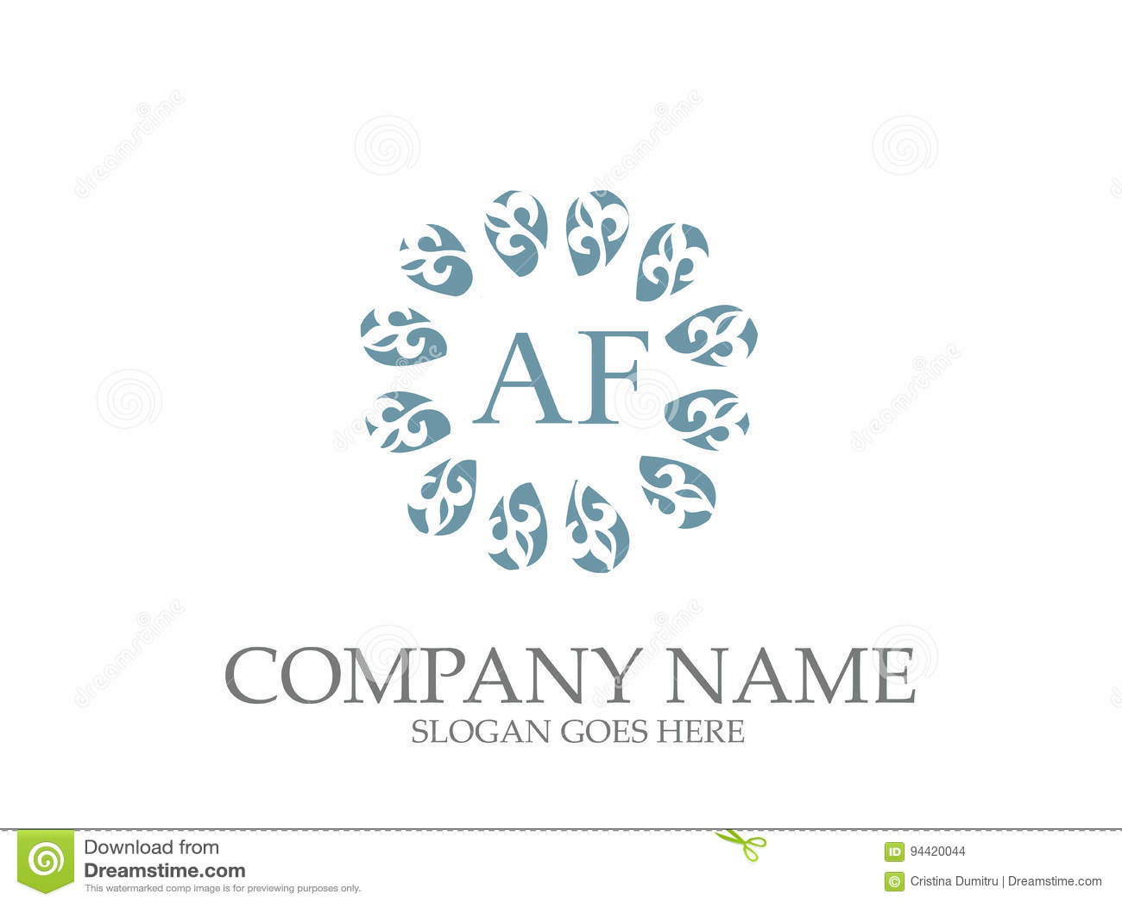 f12cab68fde Diseño floral del logotipo de la letra abstracta del AF aislado en fondo  simple