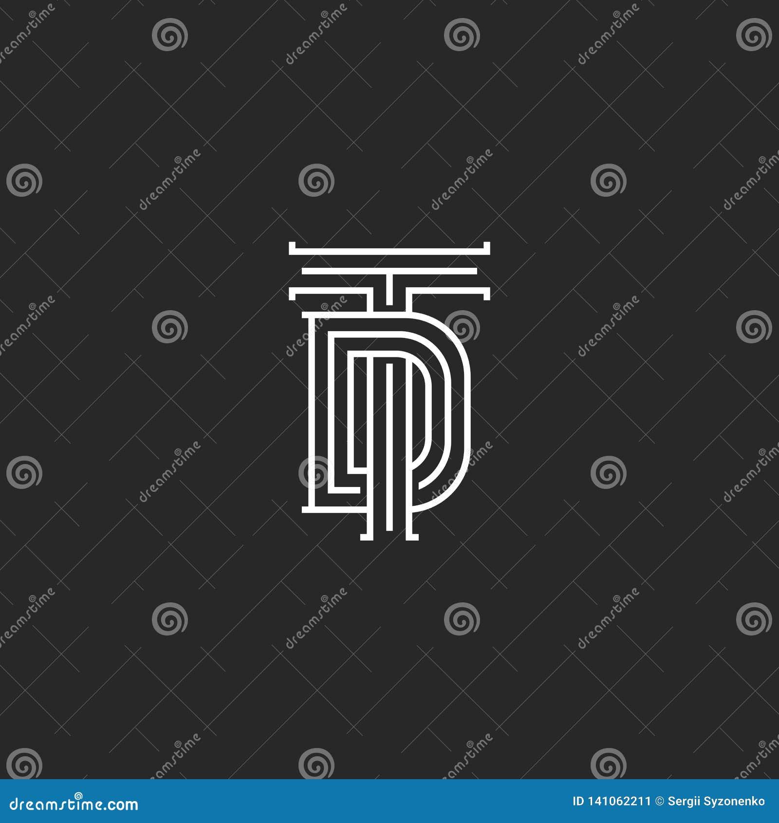 Monograma TD ou iniciais do descolamento do logotipo, uma combinação de duas letras cruzadas T e D, arte linear do emblema do cas