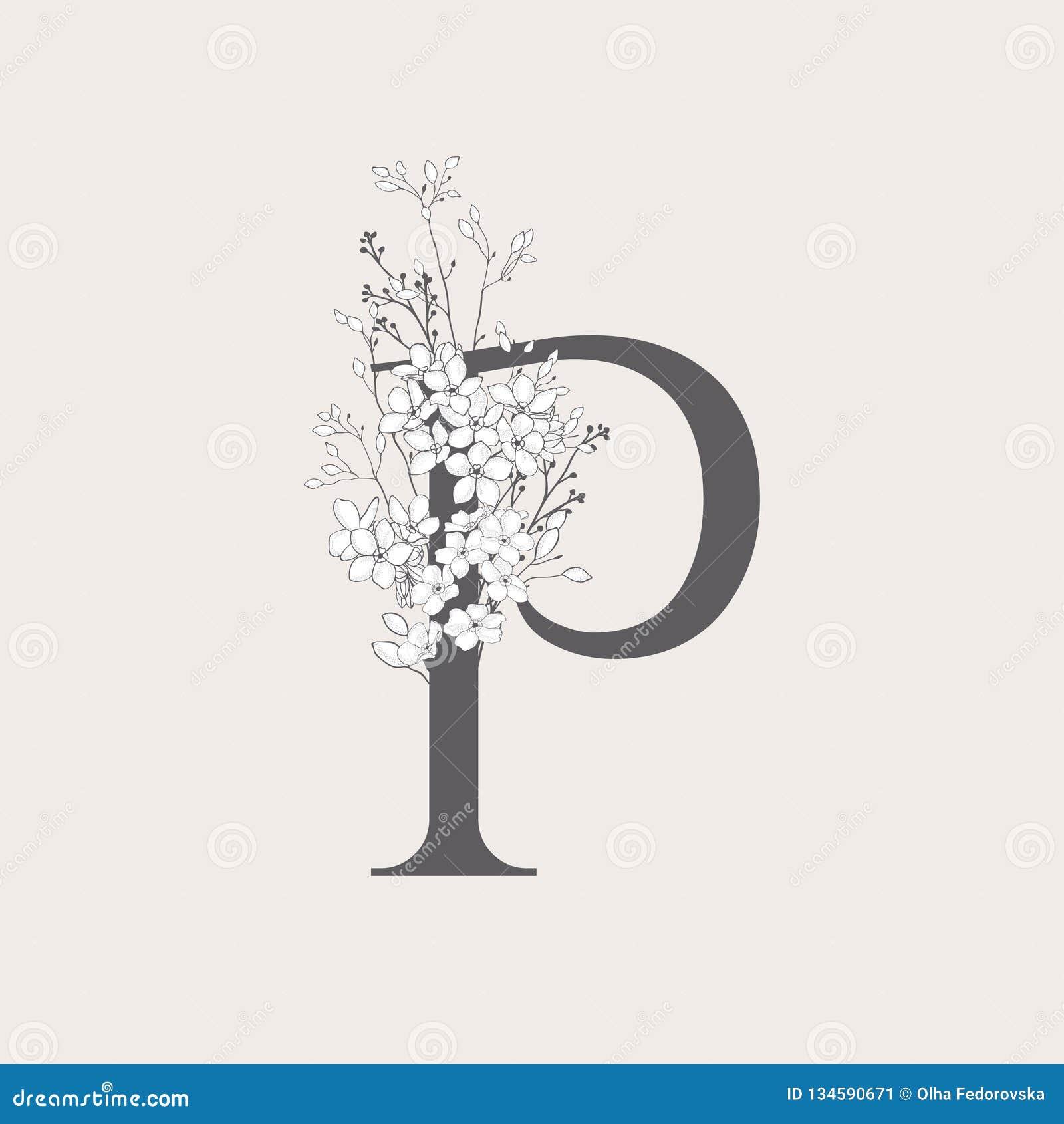Monograma y logotipo iniciales florales florecientes del vector P