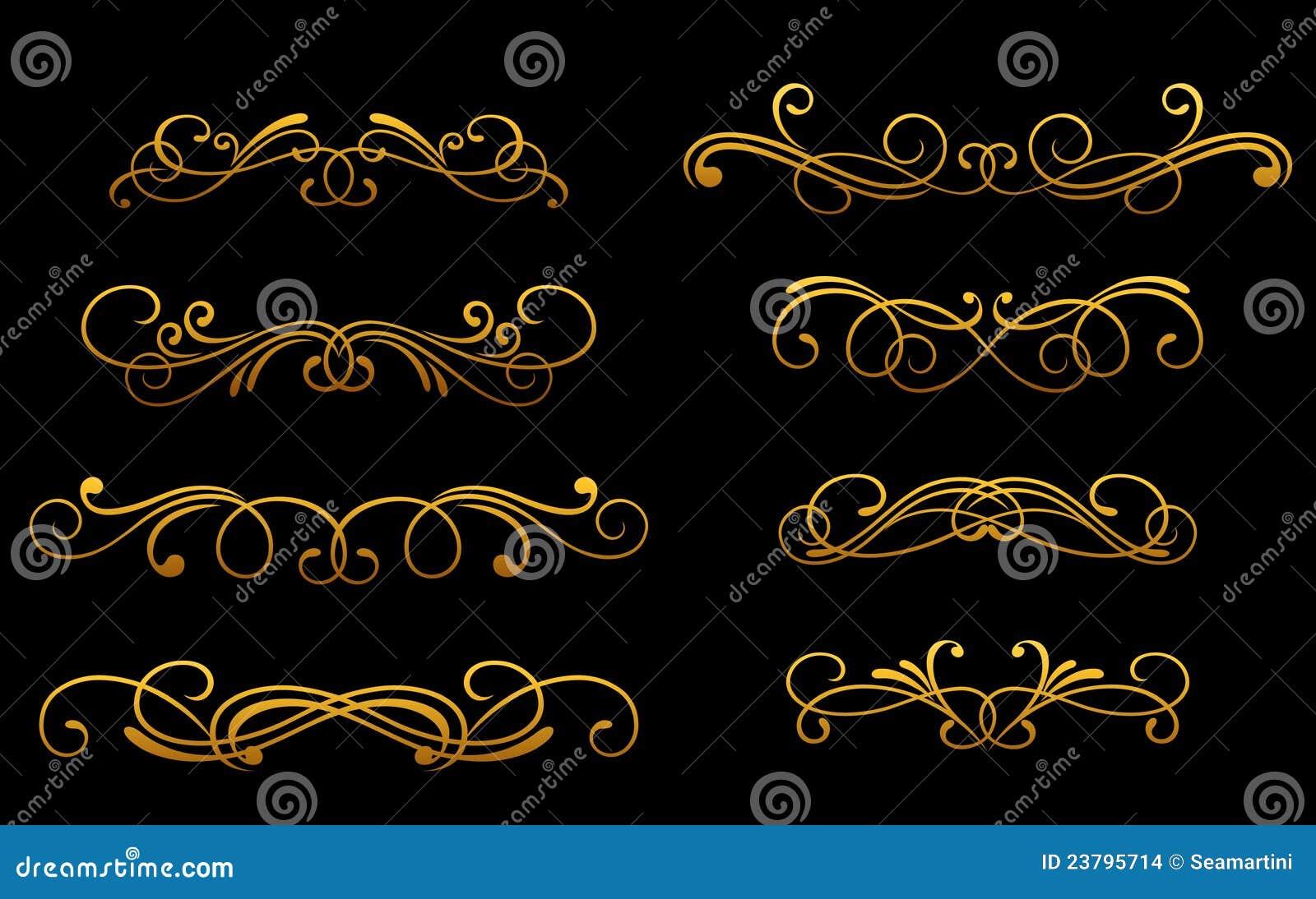 monogramas dourados do vintage imagens de stock