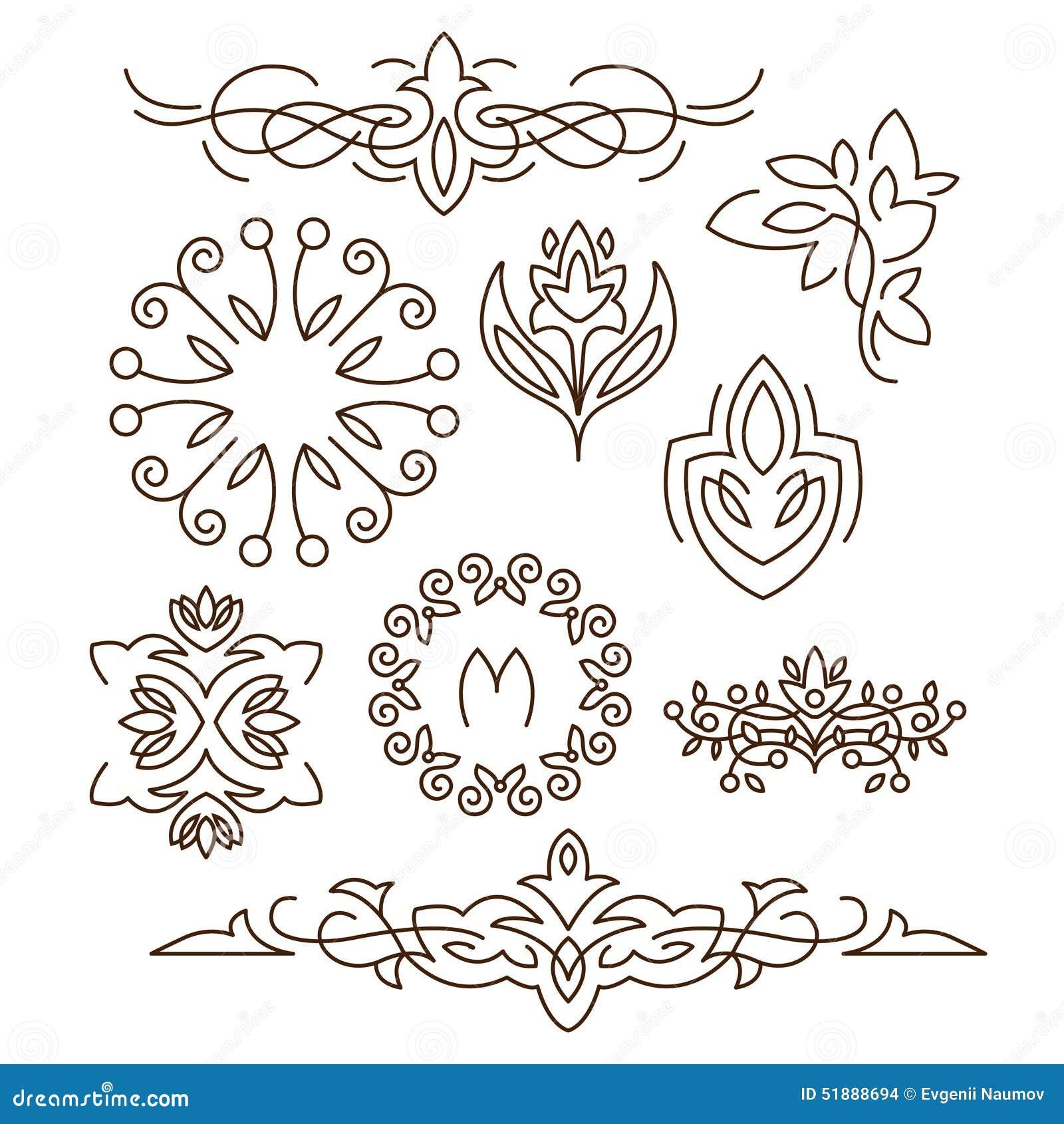Monogramas, Línea Elementos Del Diseño Para Los Logotipos, Marcos ...