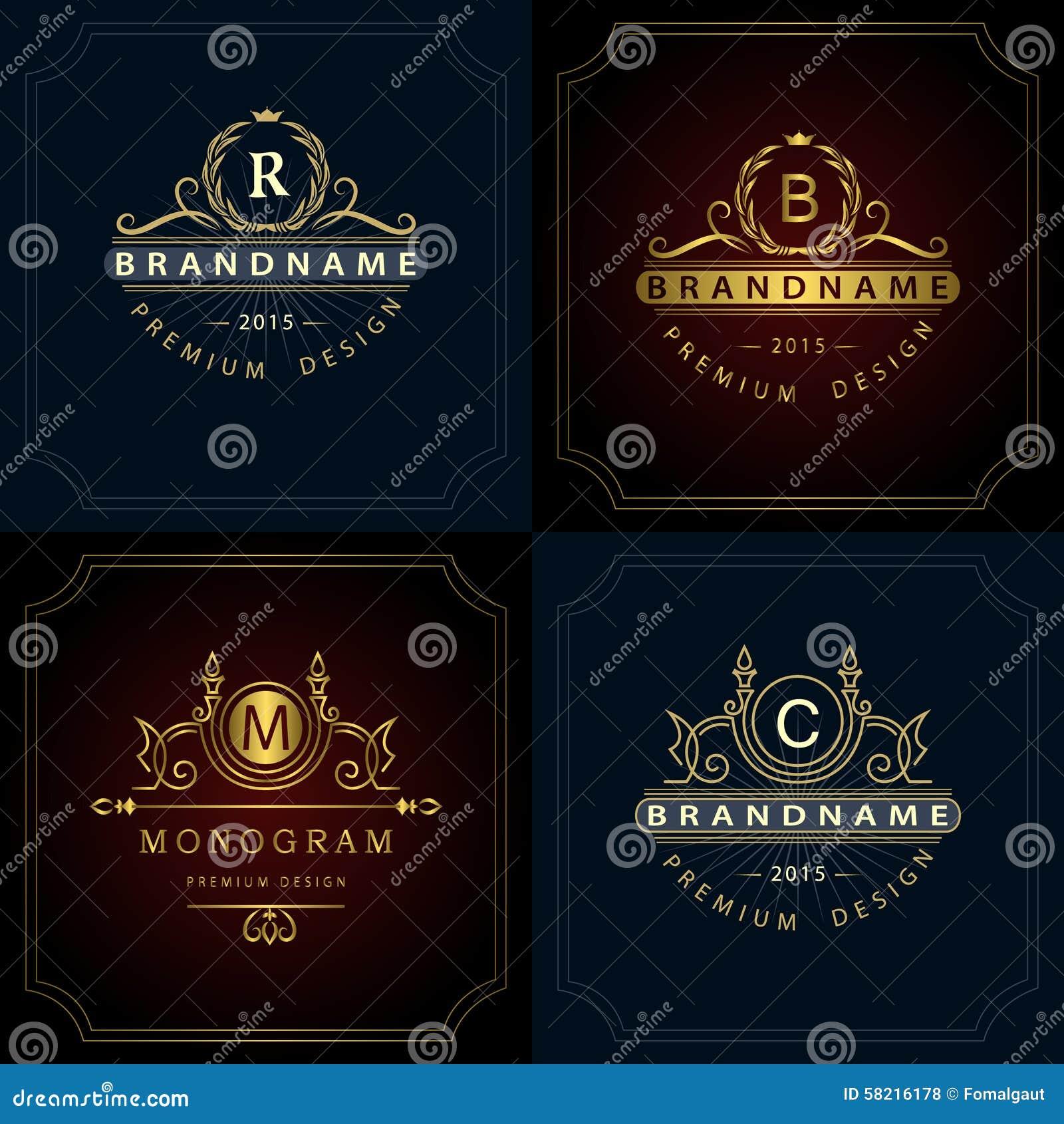 Monogramdesignbeståndsdelar, behagfull mall
