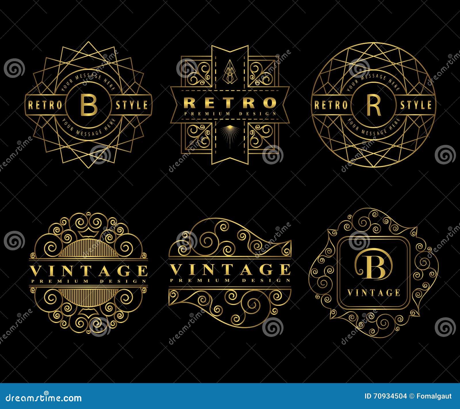 Monogramdesignbeståndsdelar, behagfull mall Calligraphic elegant linje konstlogodesign Guld- bokstavsemblemtecken B, R för royalt