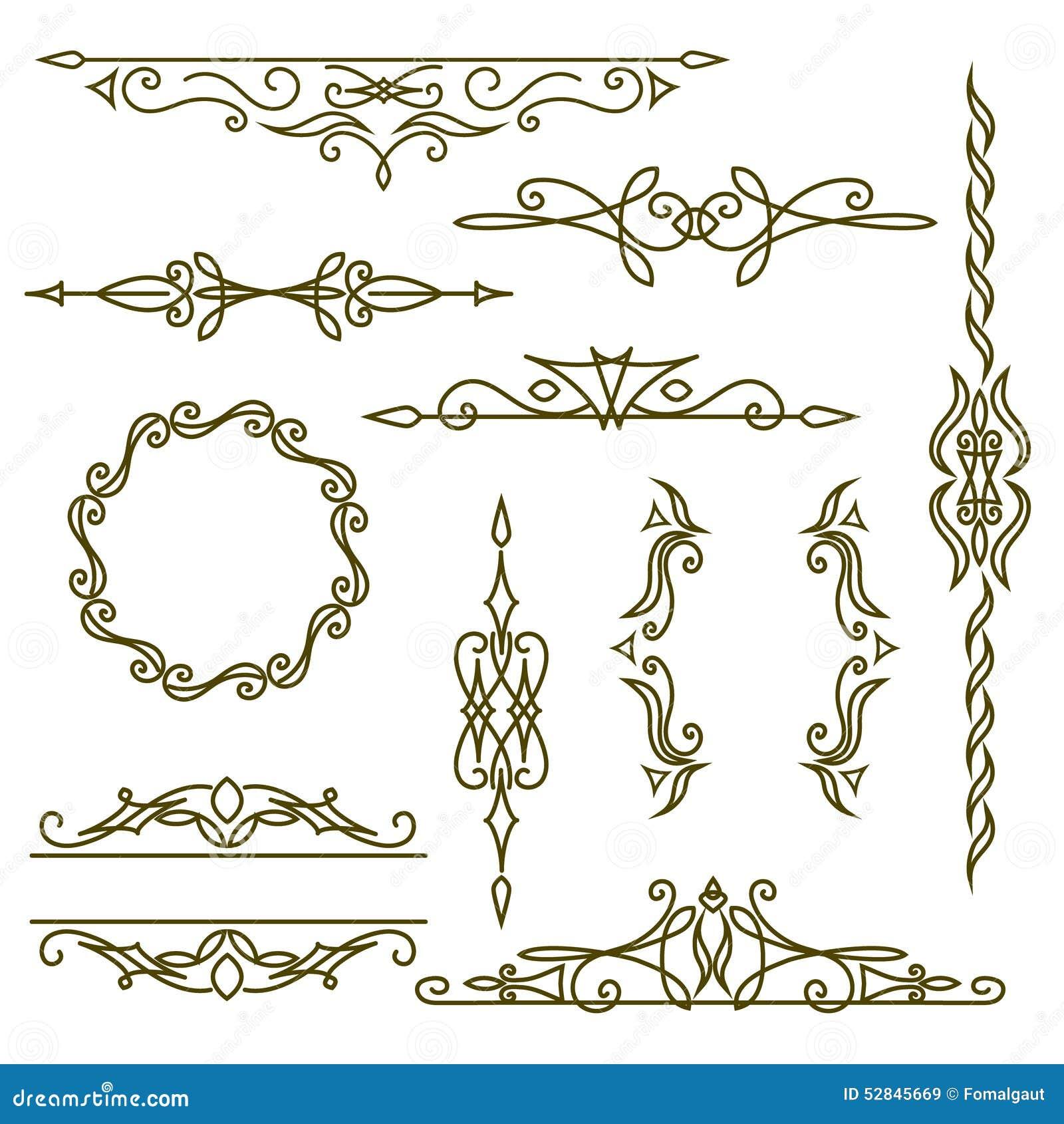 Monogramdesignbeståndsdelar, behagfull mall Den eleganta linjen konstlogodesign, inramar och gränsar också vektor för coreldrawil