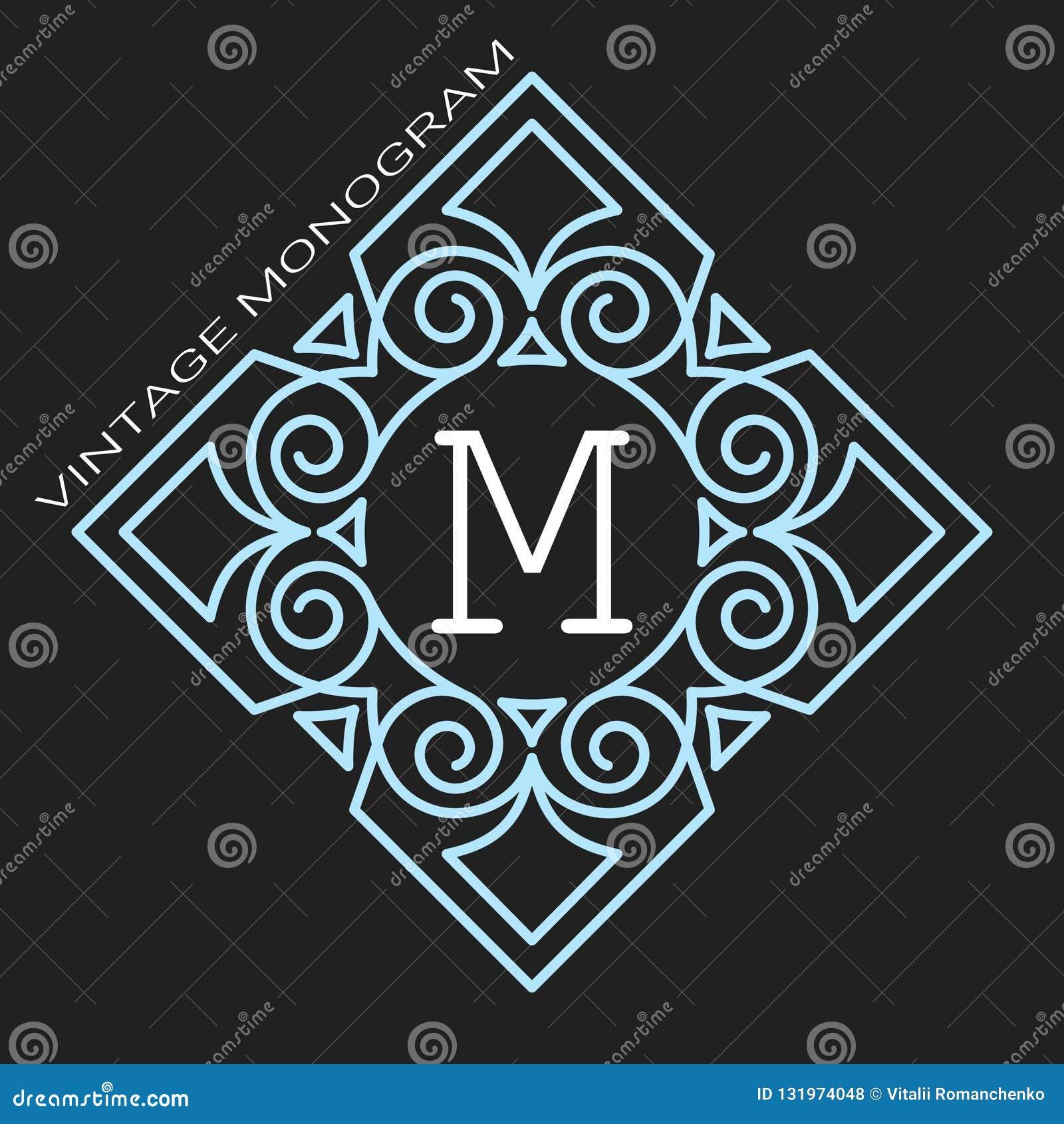 Monogramma grazioso alla moda, linea elegante progettazione di logo di arte nello stile di Art Nouveau