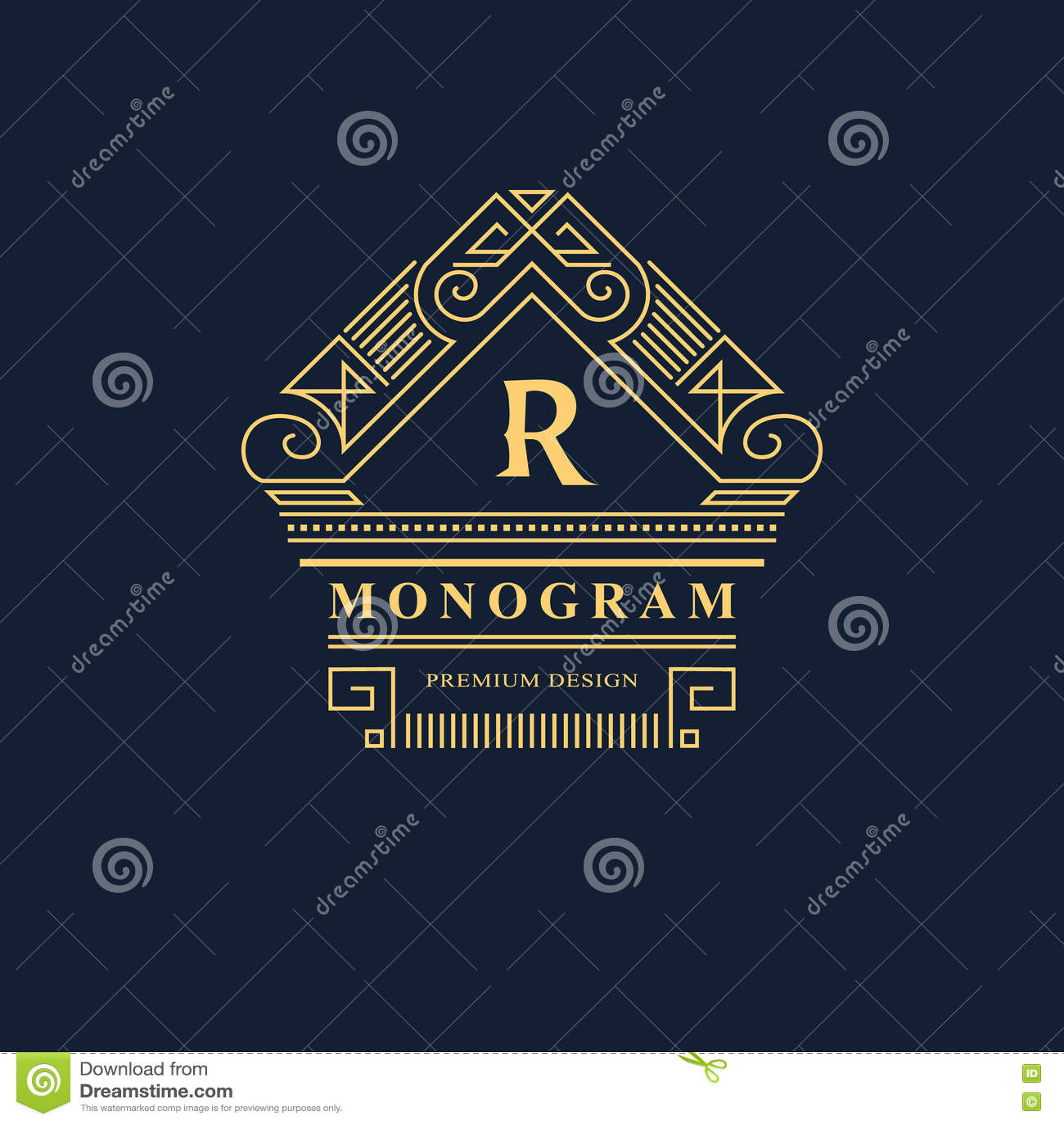 Monogramme de symboles graphiques à traits Conception de logo d art élégant emblème Calibre gracieux