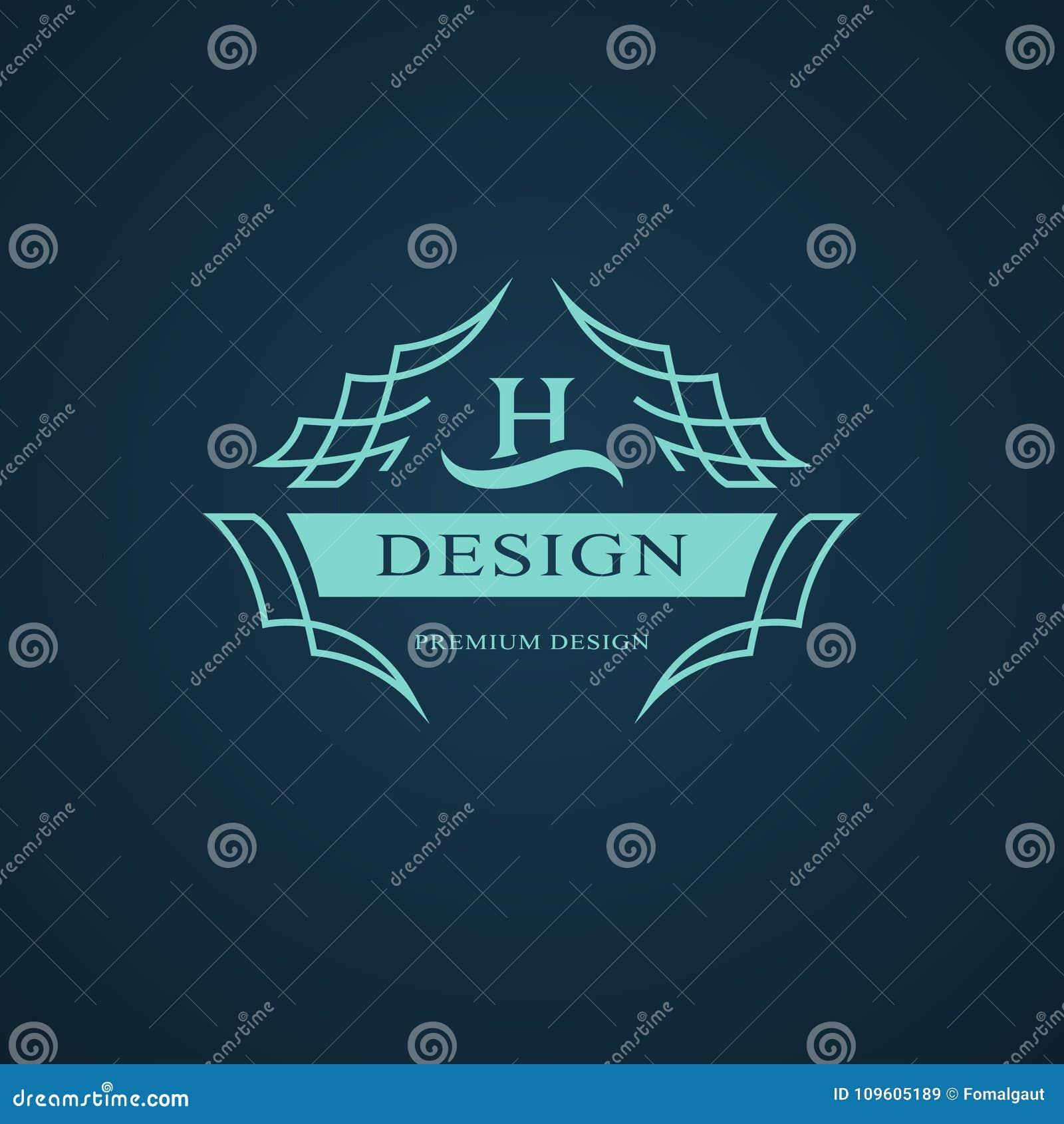 Monogramme de symboles graphiques à traits Conception de logo d art élégant Lettre H Calibre gracieux Signe d affaires, identité