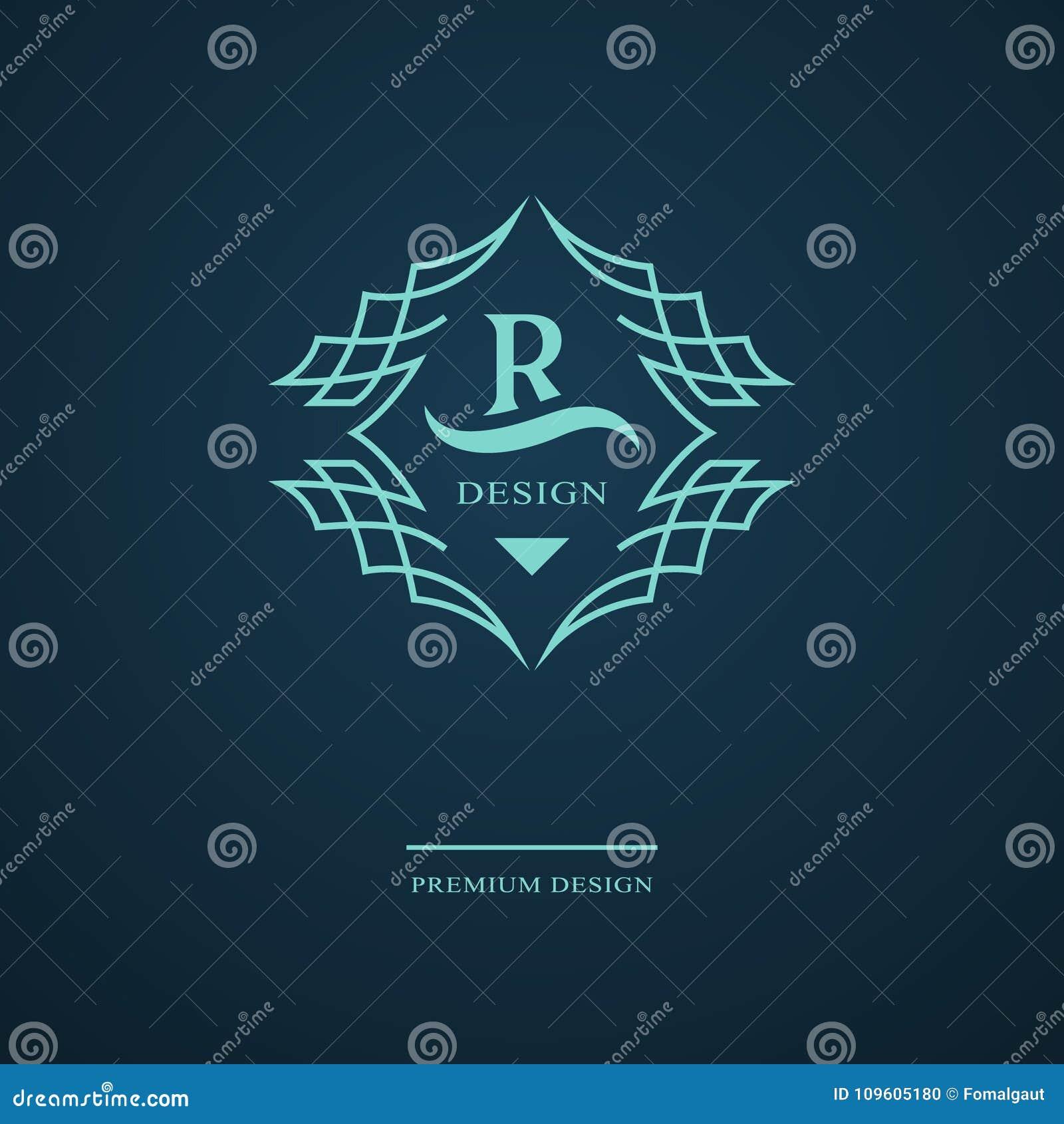 Monogramme de symboles graphiques à traits Conception de logo d art élégant Lettre R Calibre gracieux Signe d affaires, identité
