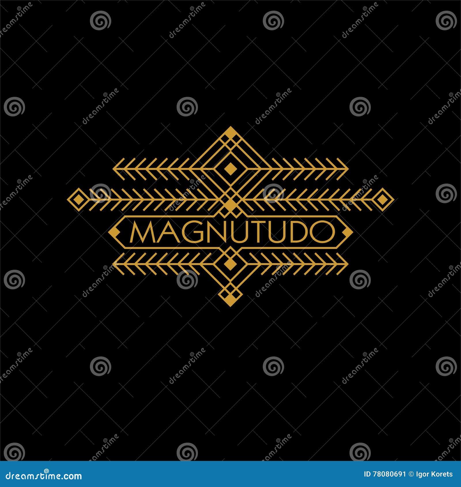 Monogramme ethnique de luxe d Art Deco Monochrome Gold Flourishes de vintage Emblème ornemental Logo de calibre Style de hippie