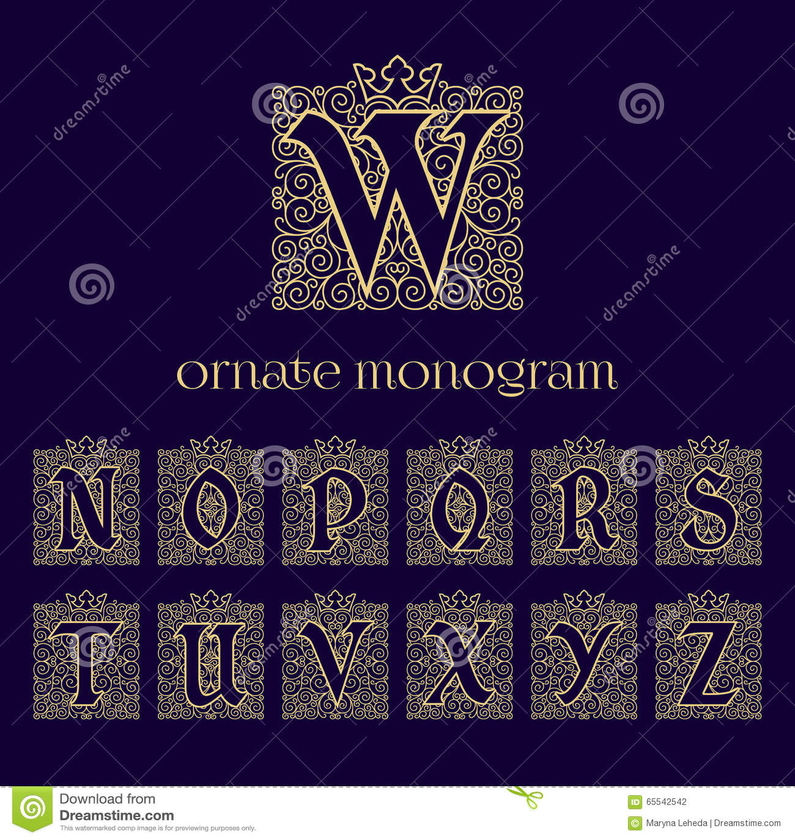 Monogrammes fleuris avec la couronne