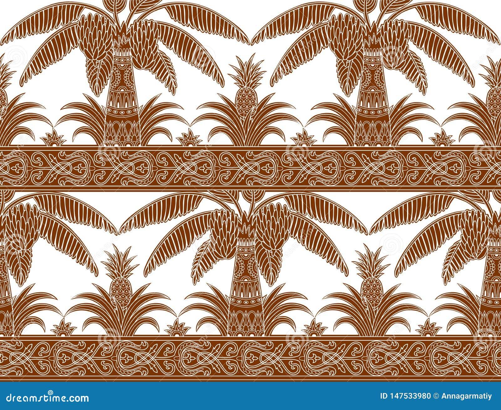 Monokrom brun palmträd- och ananasmodell