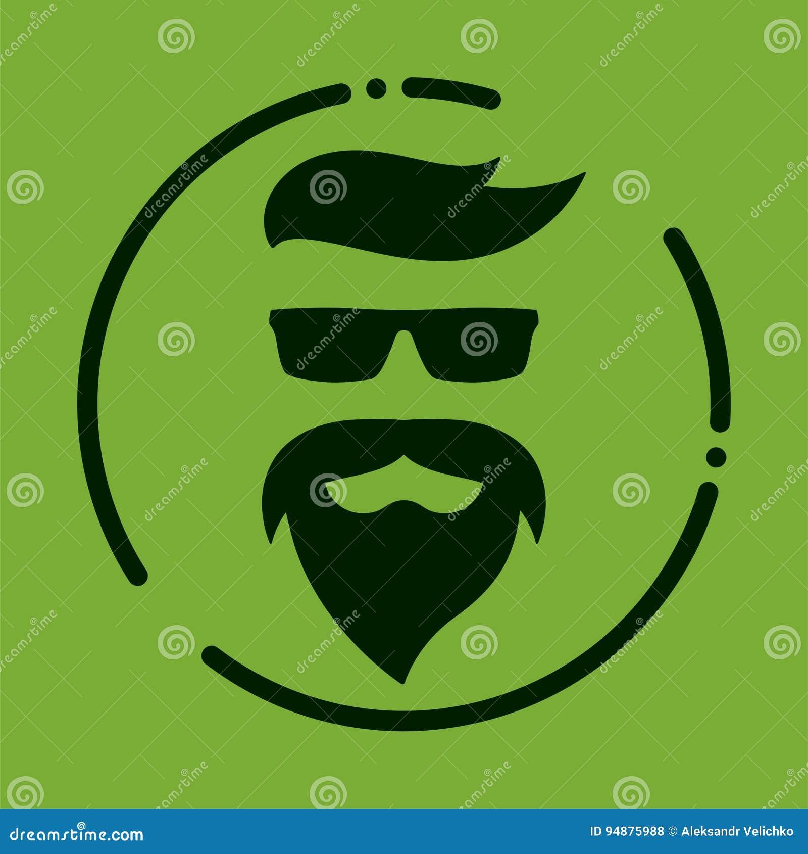 Monokrom hipster med skägget, exponeringsglas, frisyr, mustascher Silh