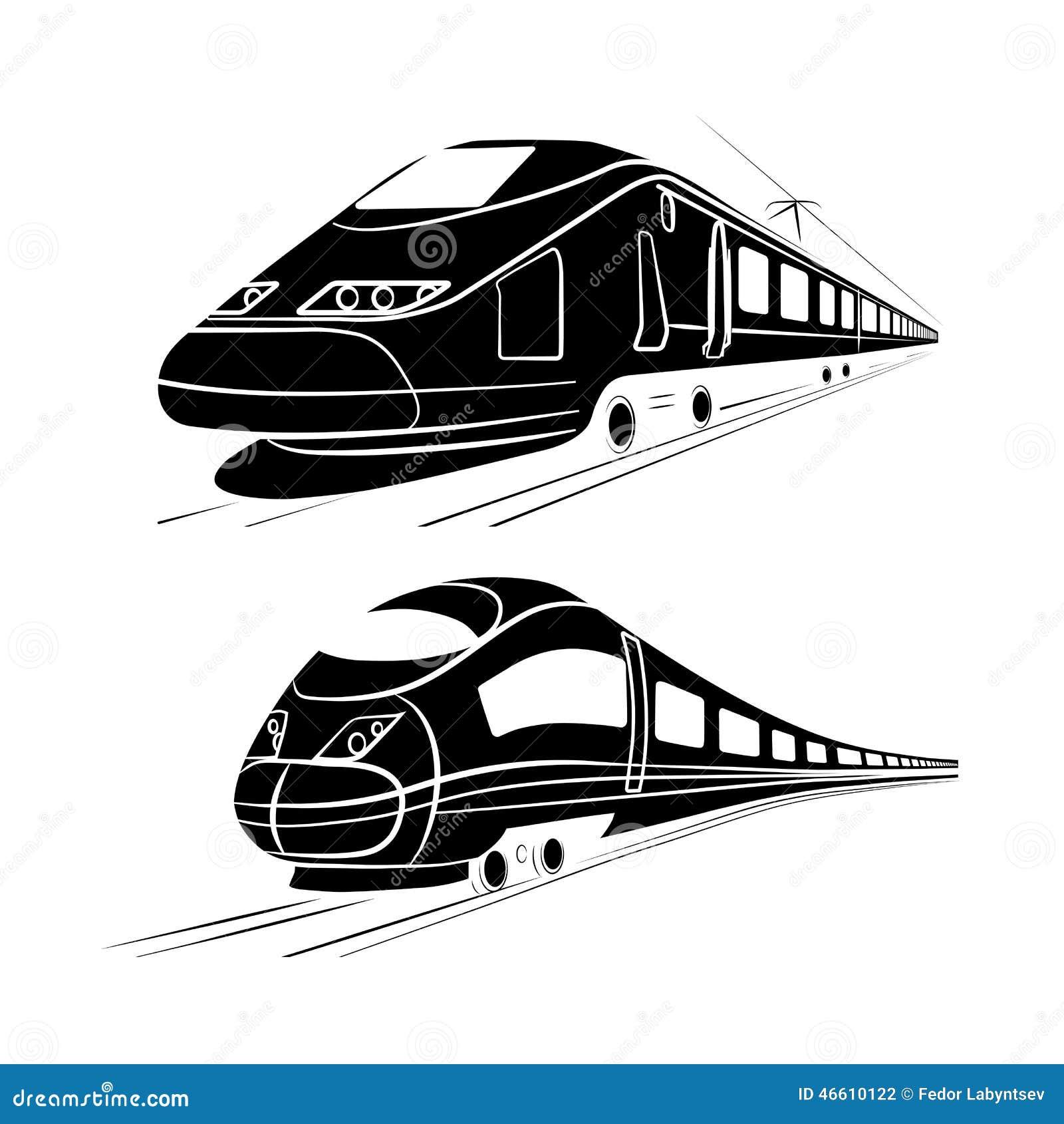 Monokrom kontur av det snabba passageraredrevet