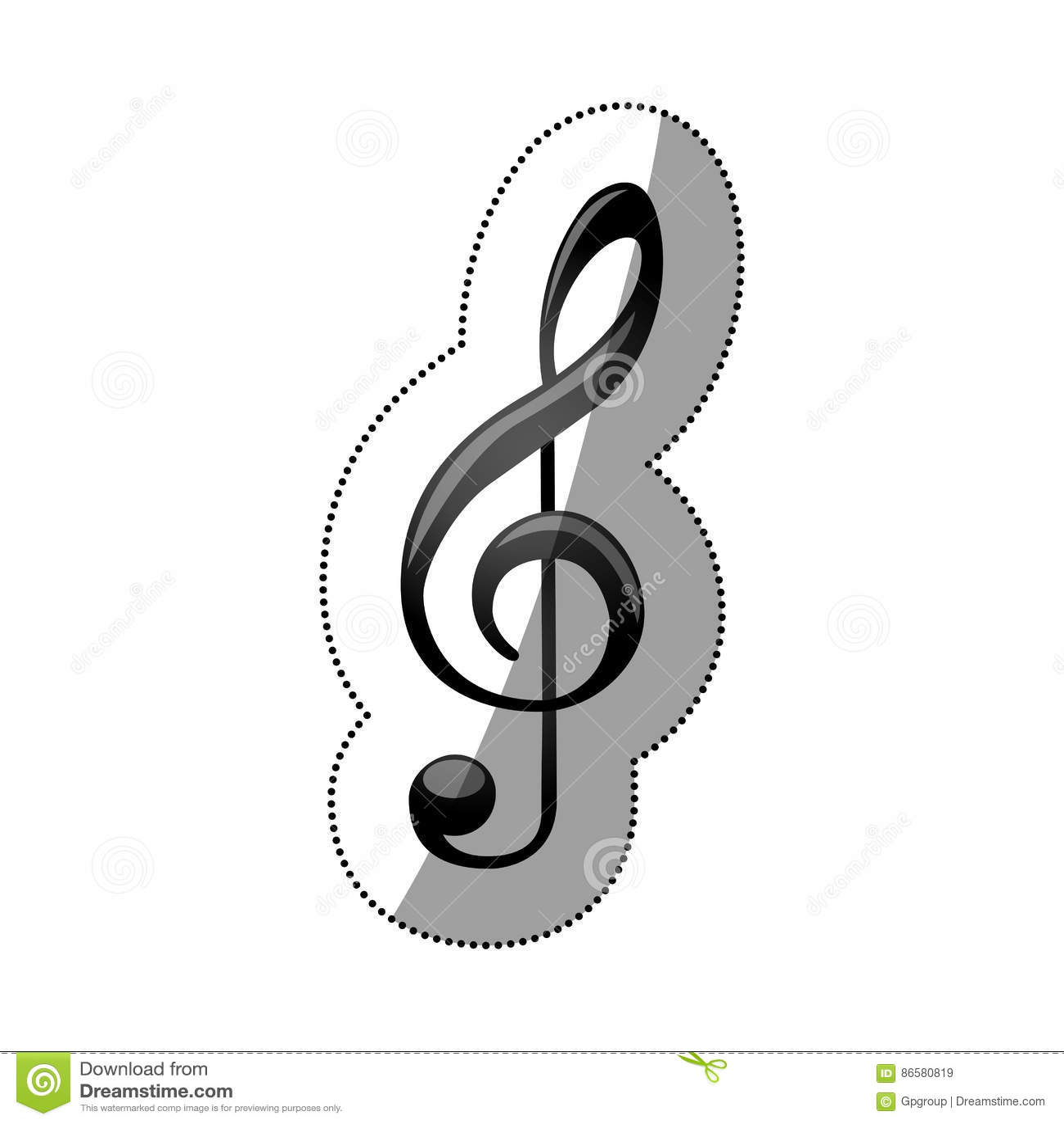 Monokrom kontur för klistermärke med teckenmusikG-klav