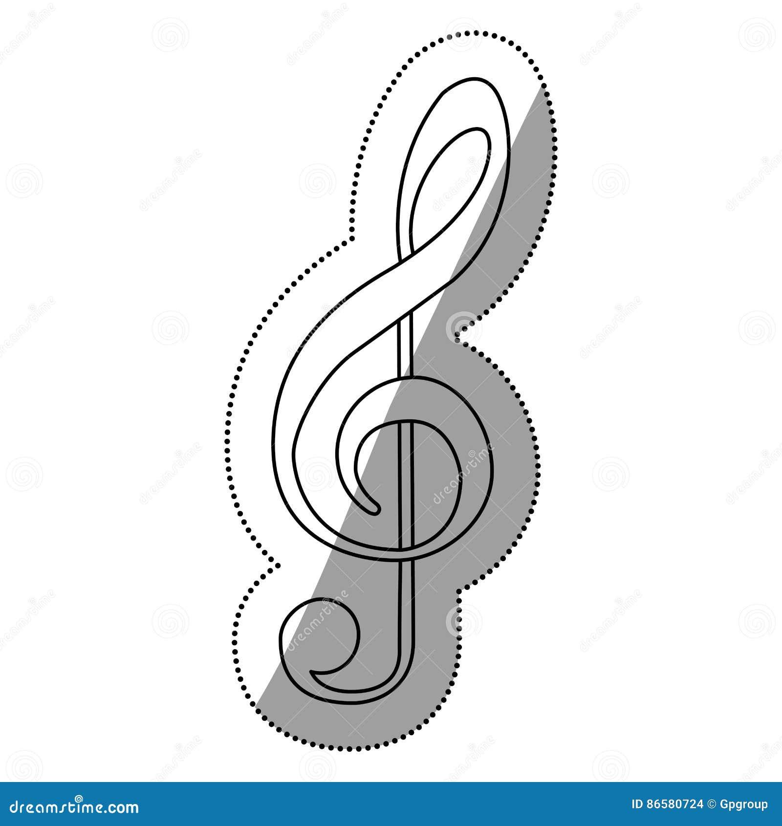 Monokrom konturkontur med teckenmusikG-klav
