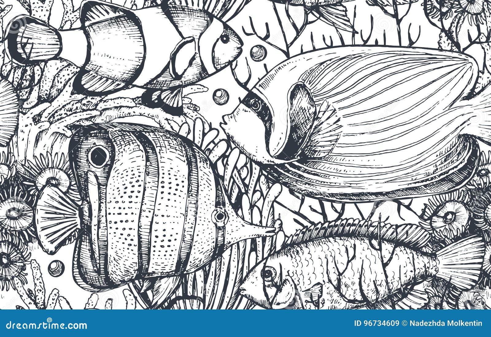 Monokrom sömlös havsmodell för vektor med tropiska fiskar, alger, koraller