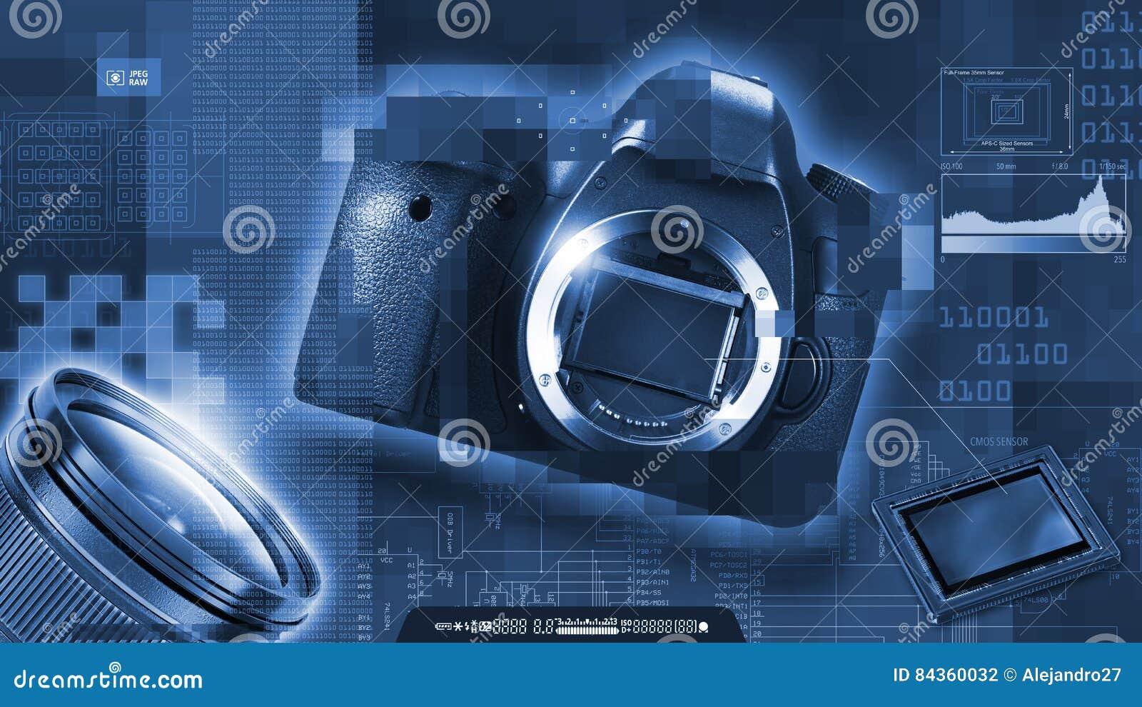 Monokrom sammansättning av temat för digitalt fotografi Reflexkamera, avkännare, lins och PIXEL