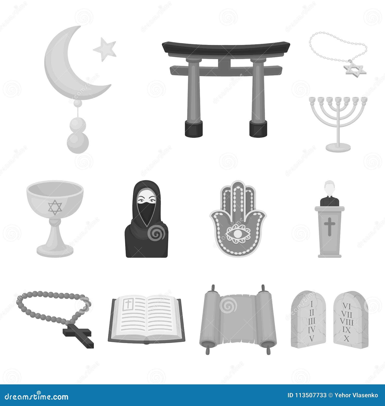Monokromma symboler för religion och för tro i uppsättningsamlingen för design Tillbehör rengöringsduk för materiel för bönvektor