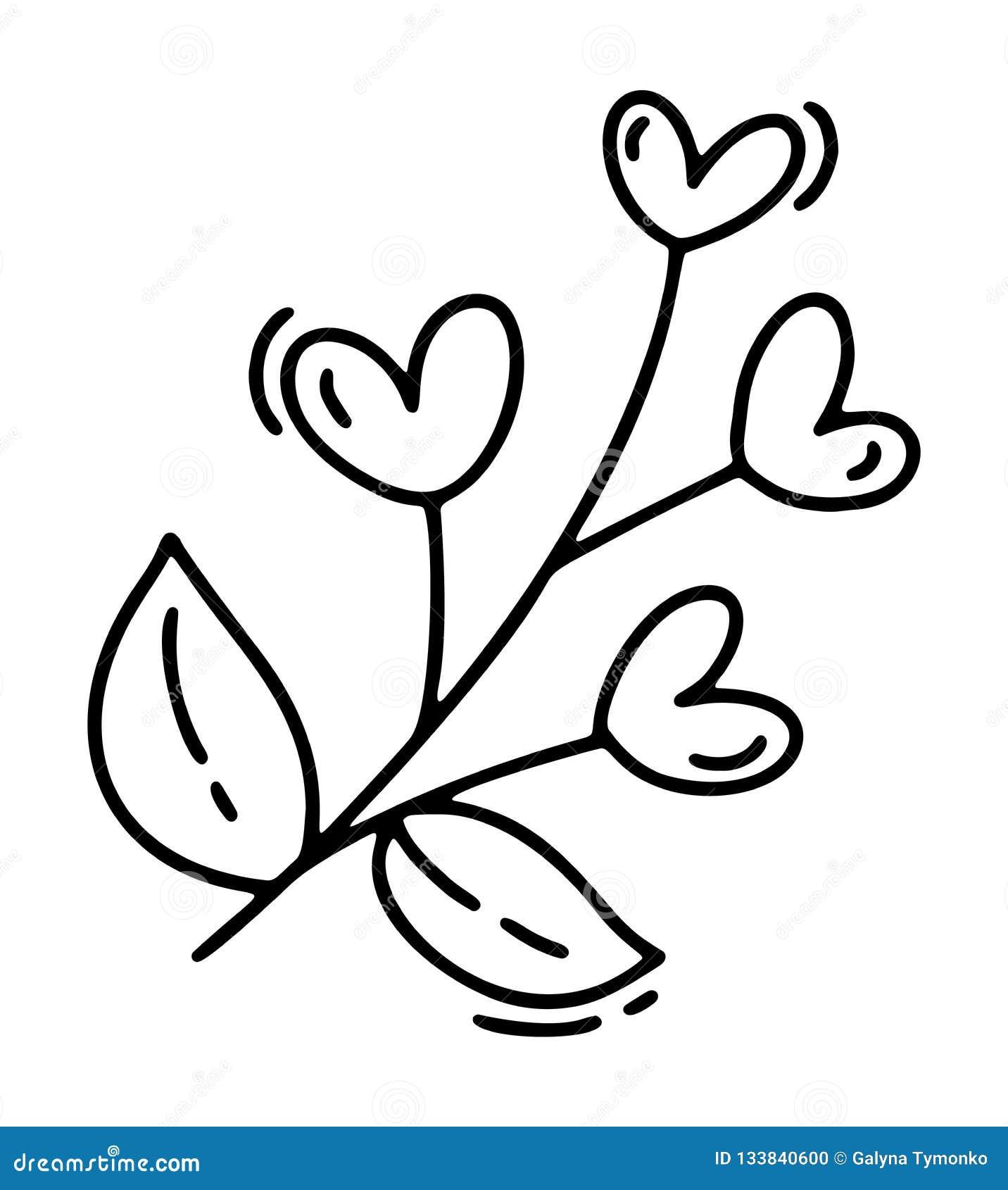 Monoline gullig filial med hjärtor Dragen symbol för vektorvalentindag hand Ferie skissar valentin för klotterdesignbeståndsdelen