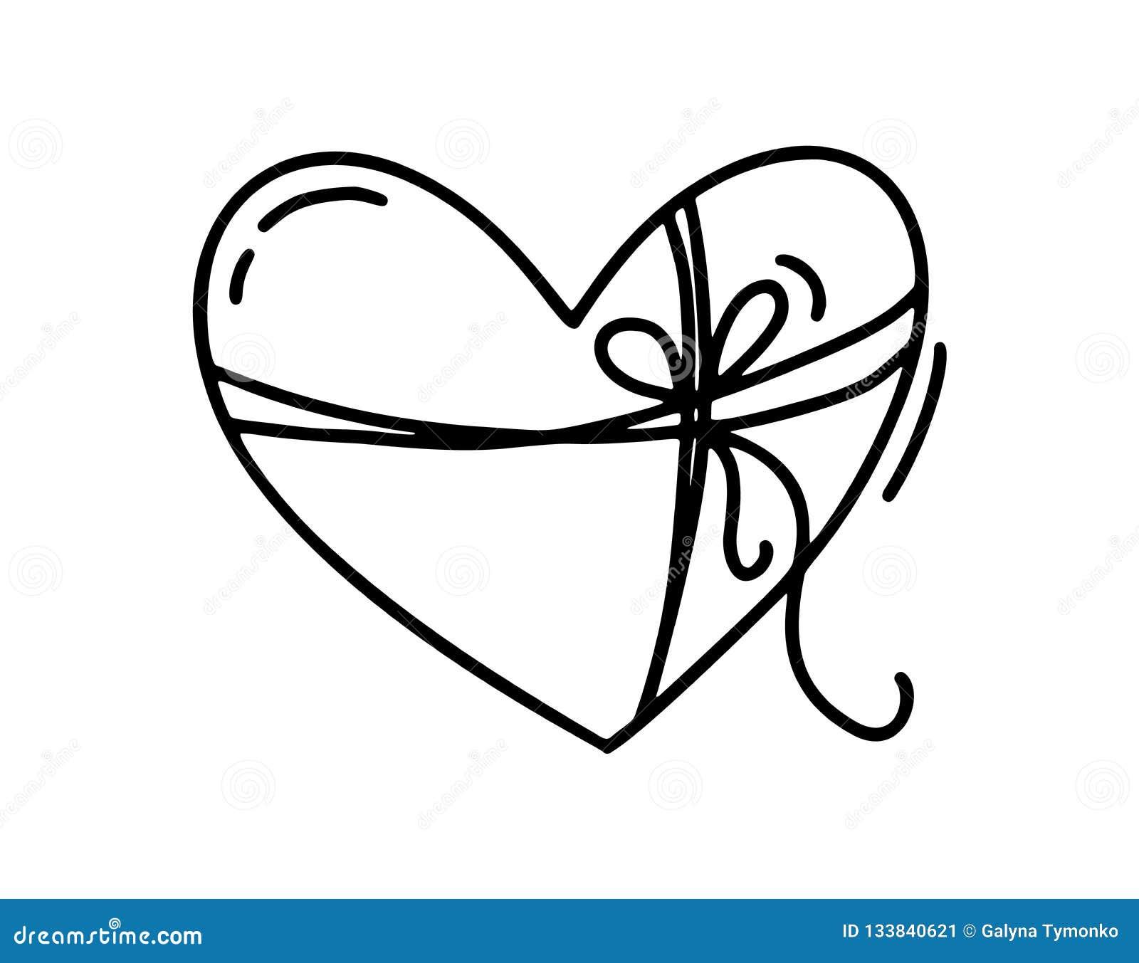 Monoline gullig hjärta med repet och pilbågen Dragen symbol för vektorvalentindag hand Ferie skissar klotterdesignbeståndsdelen