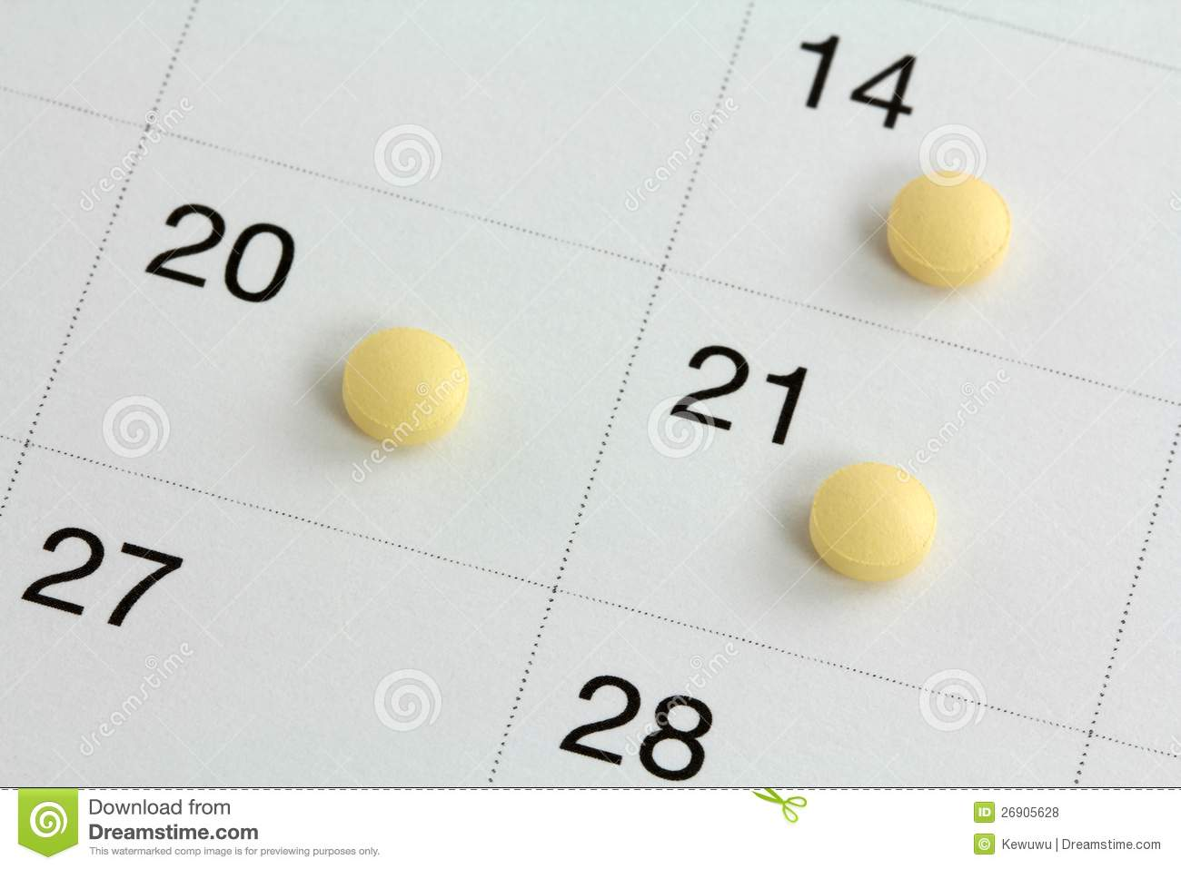 Monophasic Birth Control Pills On A Calendar Royalty Free Stock ...