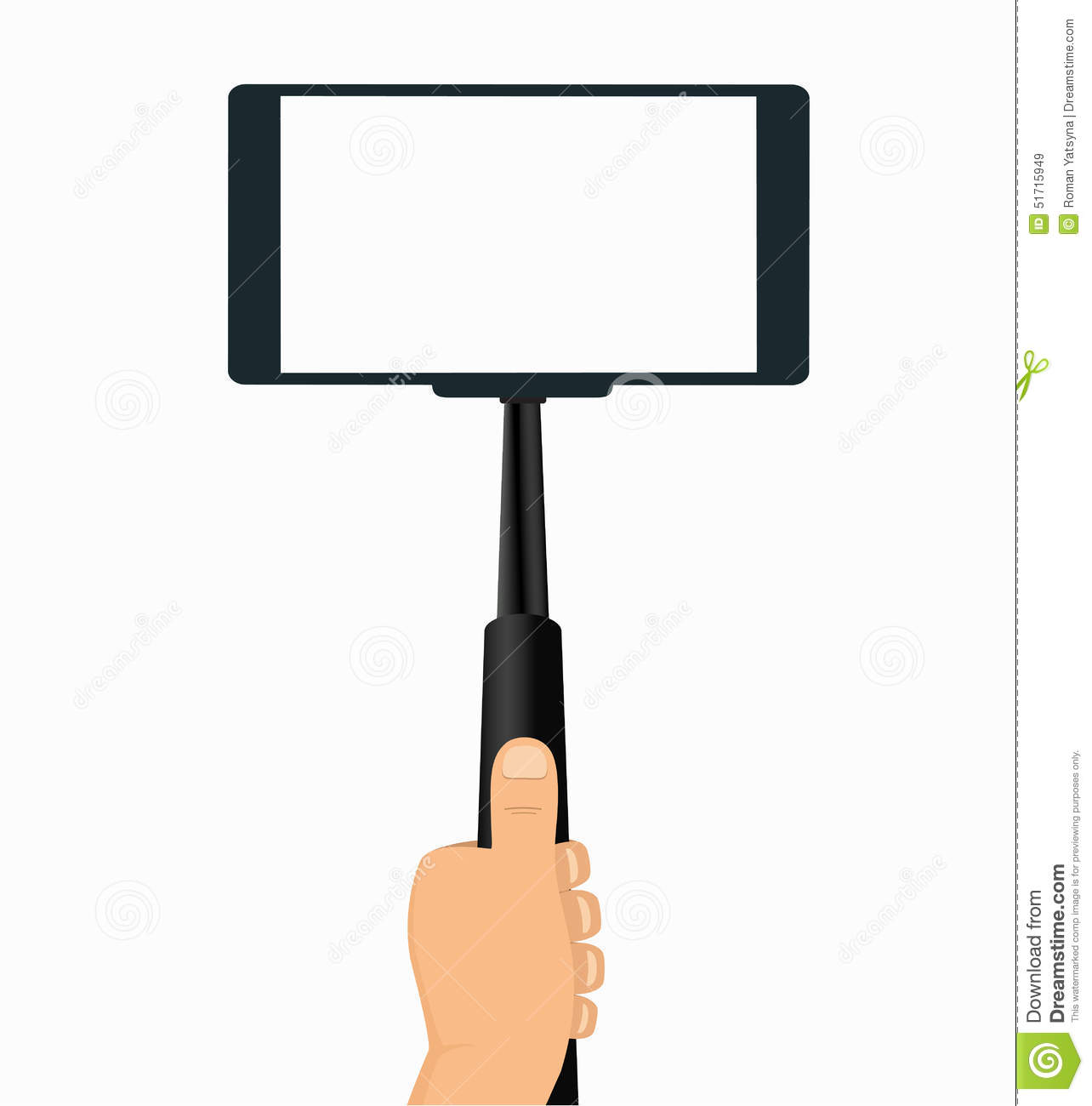 monopod in hand taking selfie on a mobile phone stock vector image 51715949. Black Bedroom Furniture Sets. Home Design Ideas