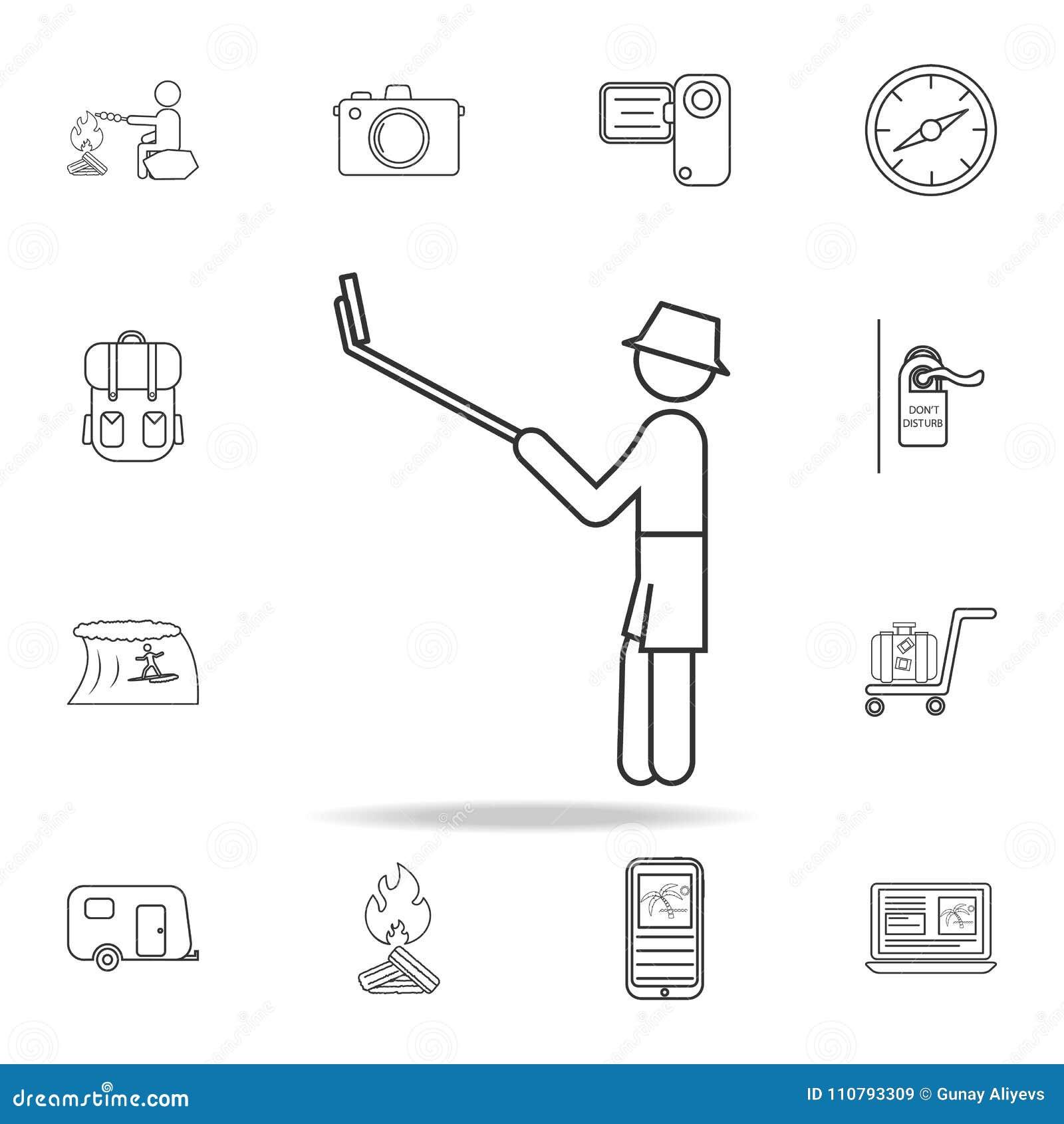 Monopod Selfie自画象线象 套旅游业和休闲象 标志,概述家具汇集,简单的稀薄的线集成电路