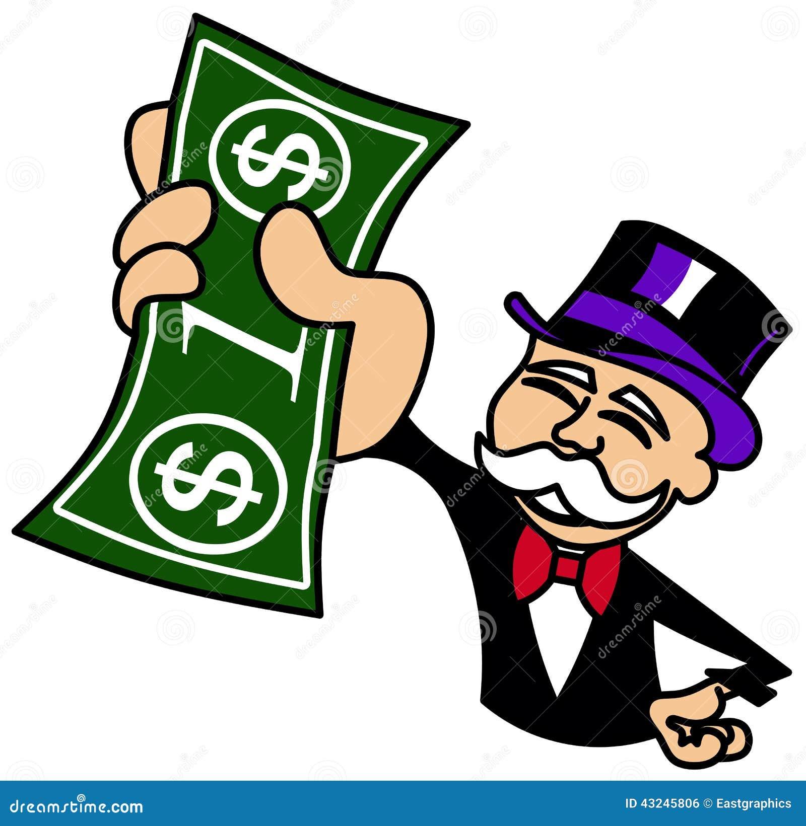 Monopolgrabb som rymmer en dollarräkning
