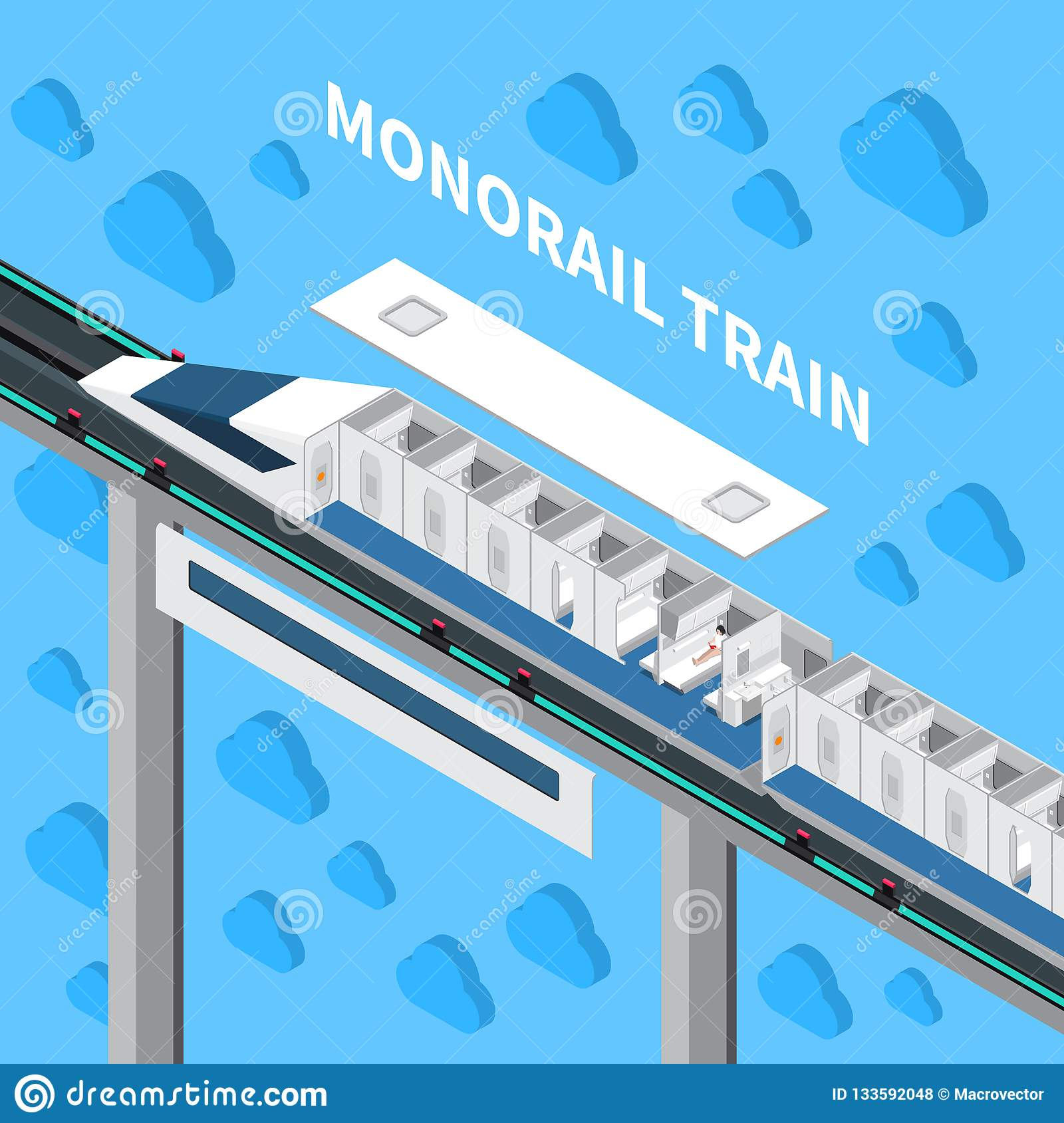 Monorail Train Isometric Composition