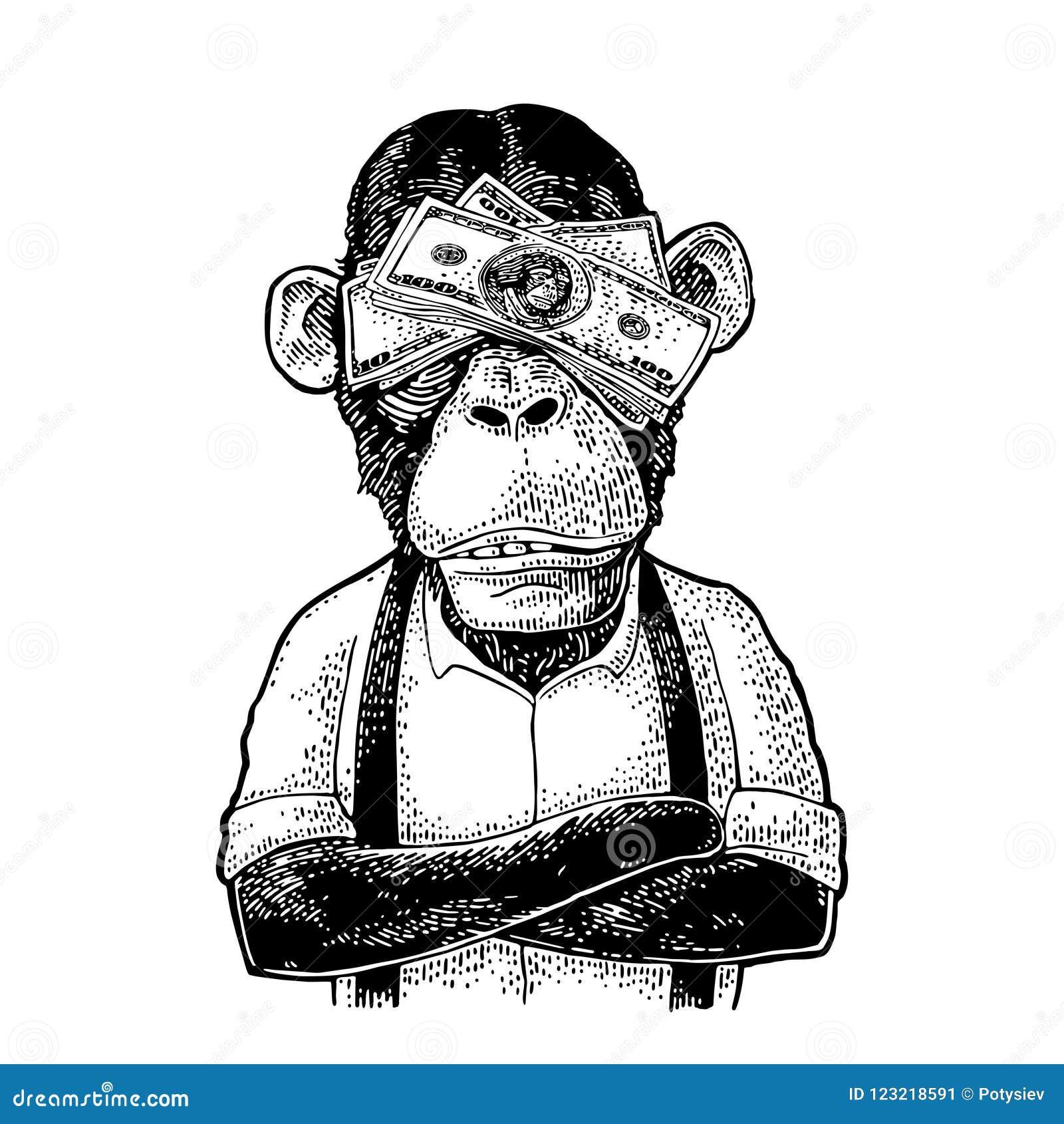 3 Monos Sabios Tatuajes monos con el dinero en ojos grabado del vintage ilustración