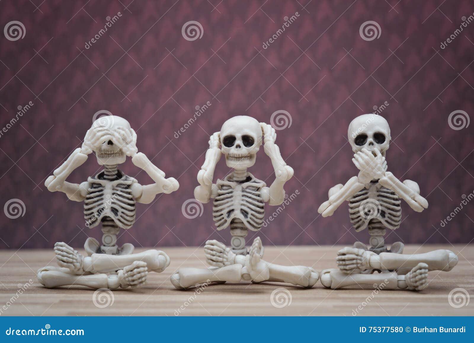 Monos Sabios Del Esqueleto 3 Foto de archivo - Imagen de hable ...