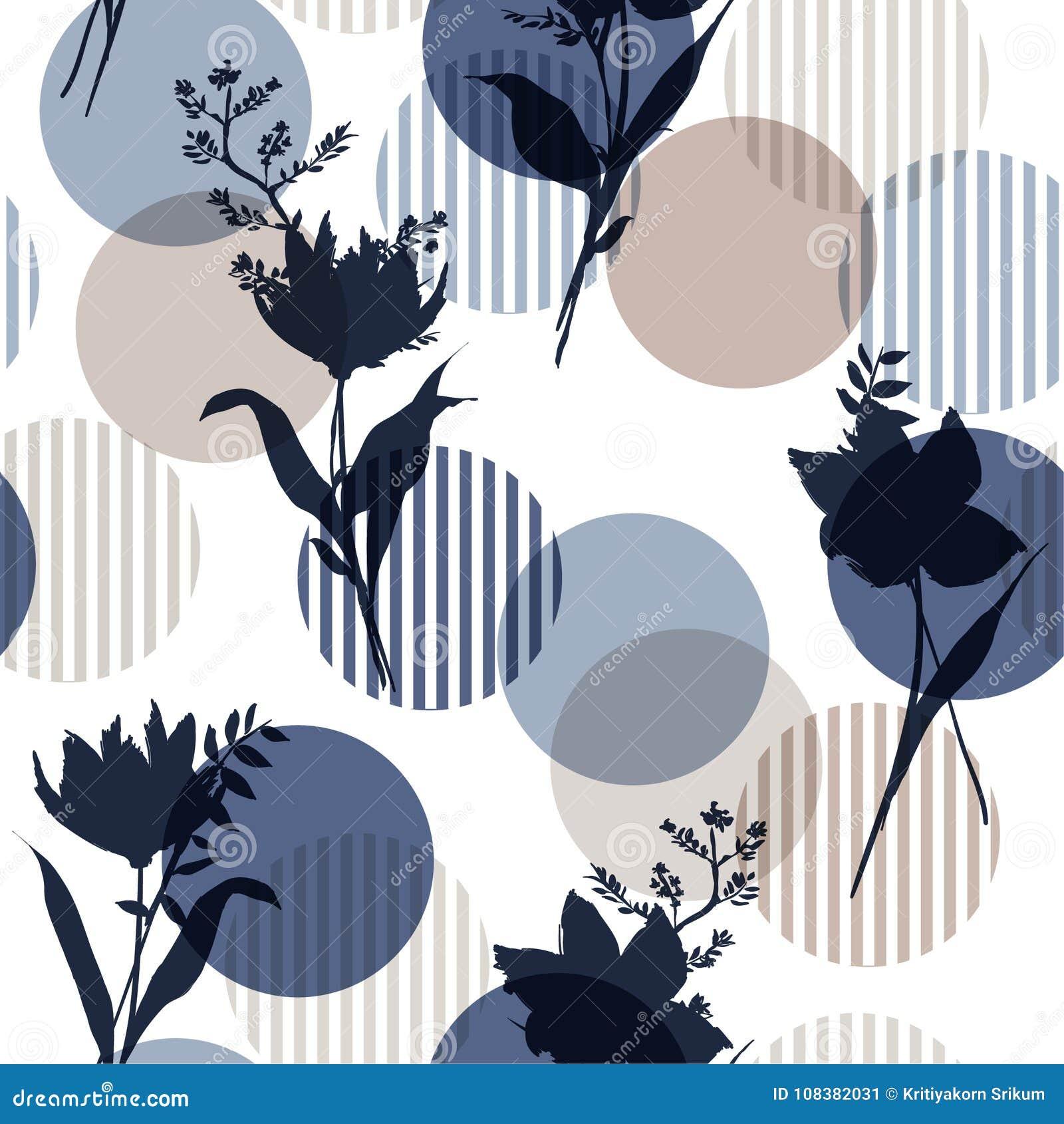 Monotone dans le modèle sans couture floral de silhouette botanique bleue de vecteur sur le point de polka coloré moderne de rayu