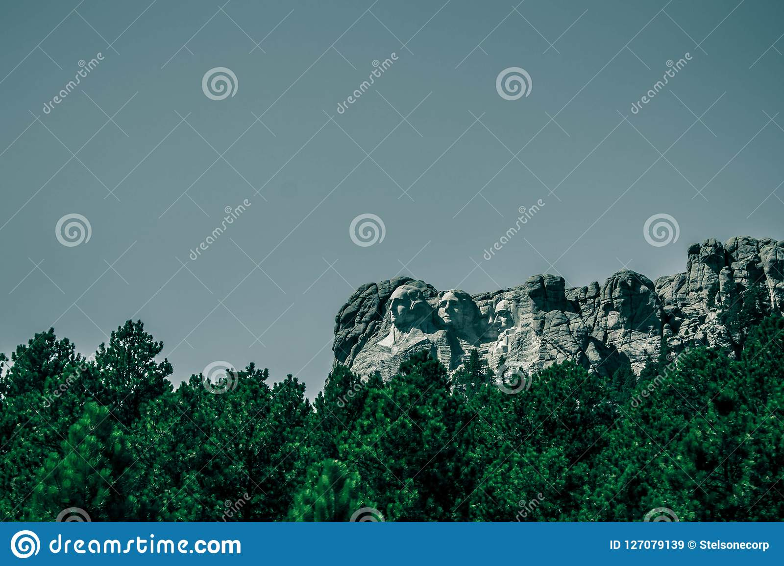 monotone photo of Mount Rushmore , view from the road