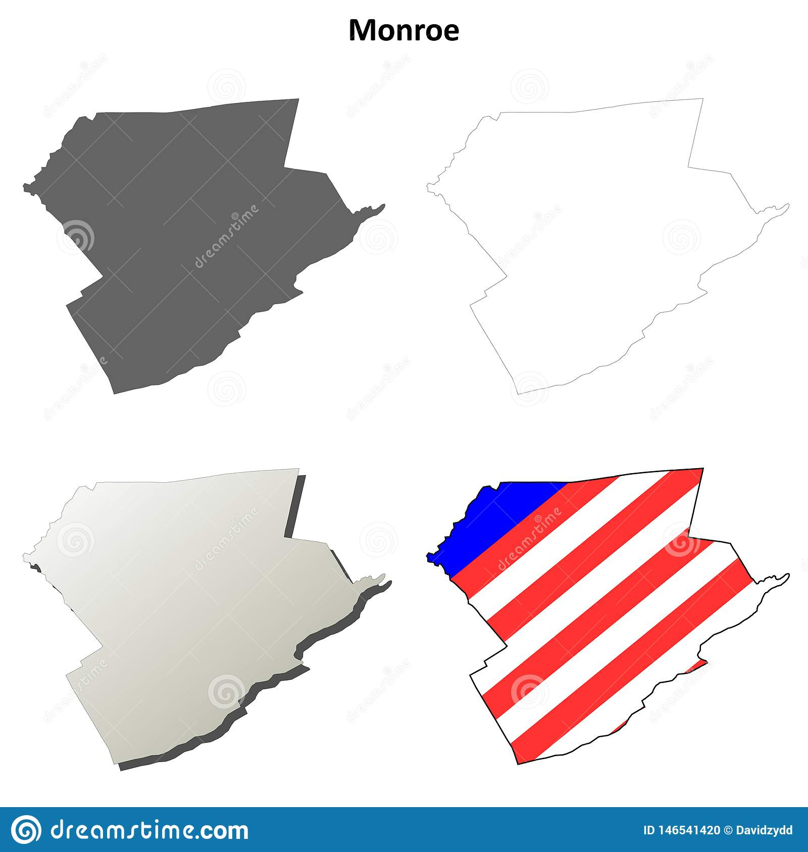 Image of: Monroe County Pennsylvania Outline Map Set Stock Vector Illustration Of Outline Pennsylvania 146541420