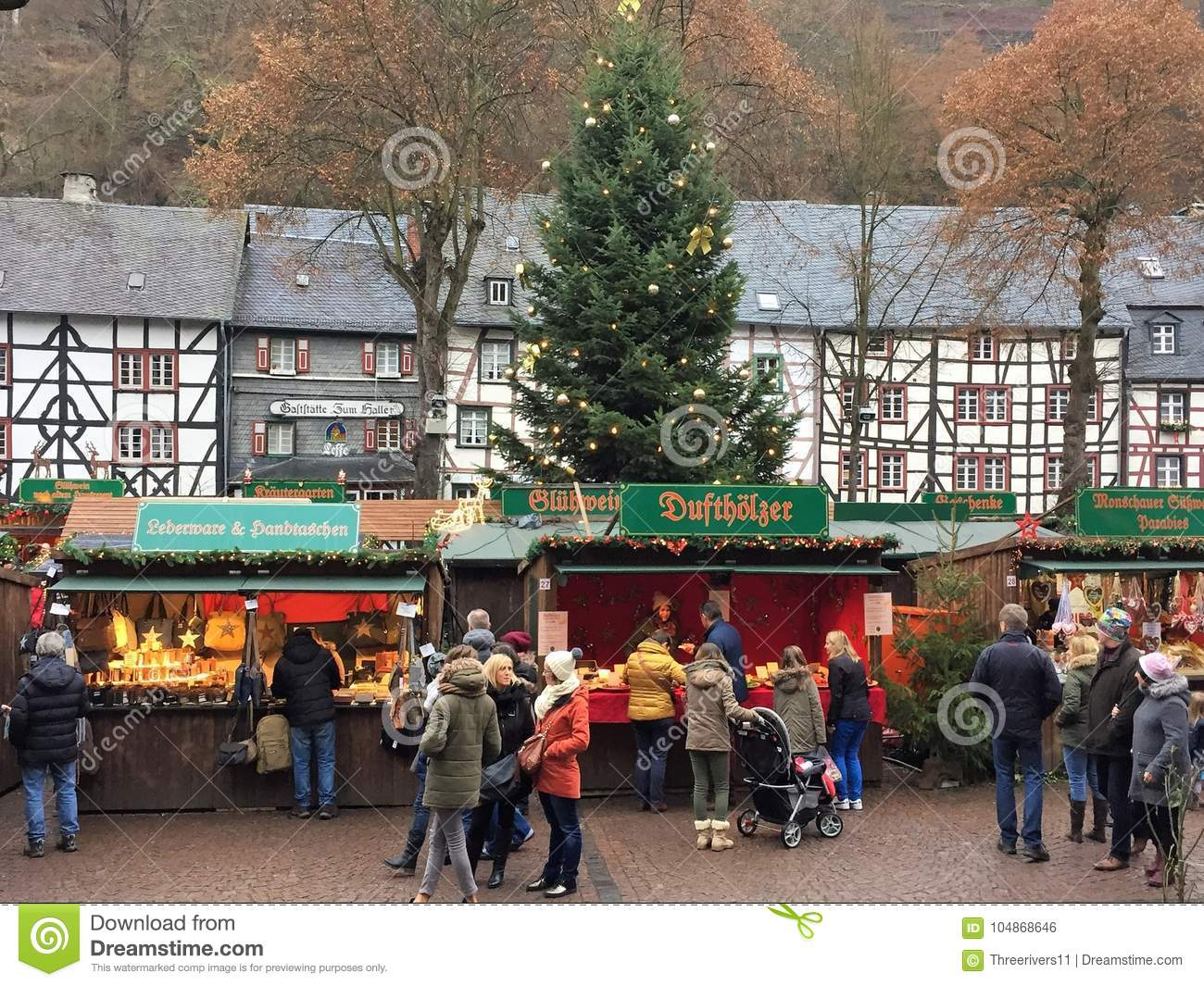 German Christmas Gifts.German Christmas Market With People Editorial Photo Image