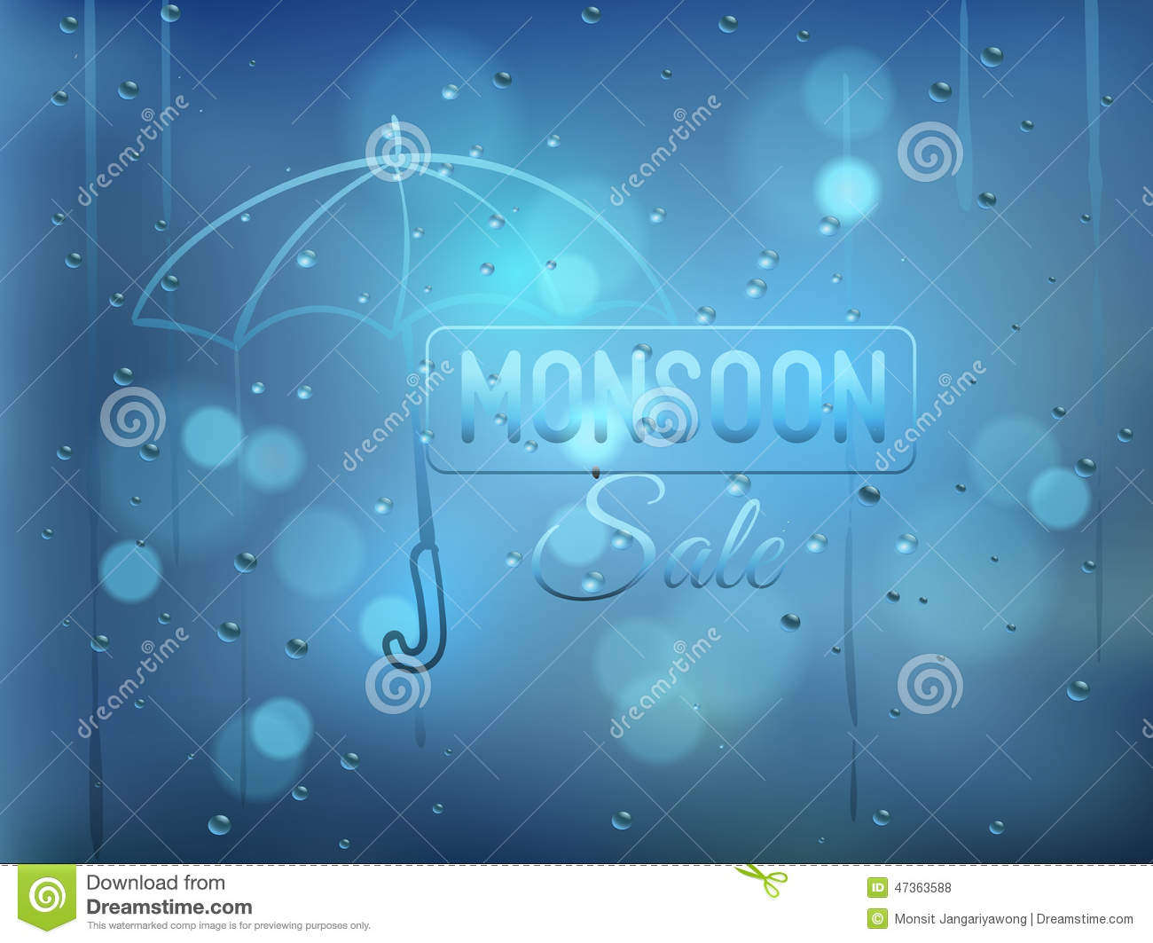 Monsoon Offer And Sale Background With Water Drops On