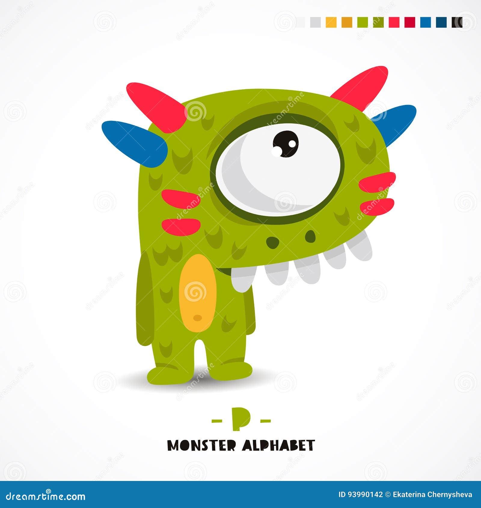 Monster-Alphabet Bezeichnen Sie P Mit Buchstaben Vektor Abbildung ...