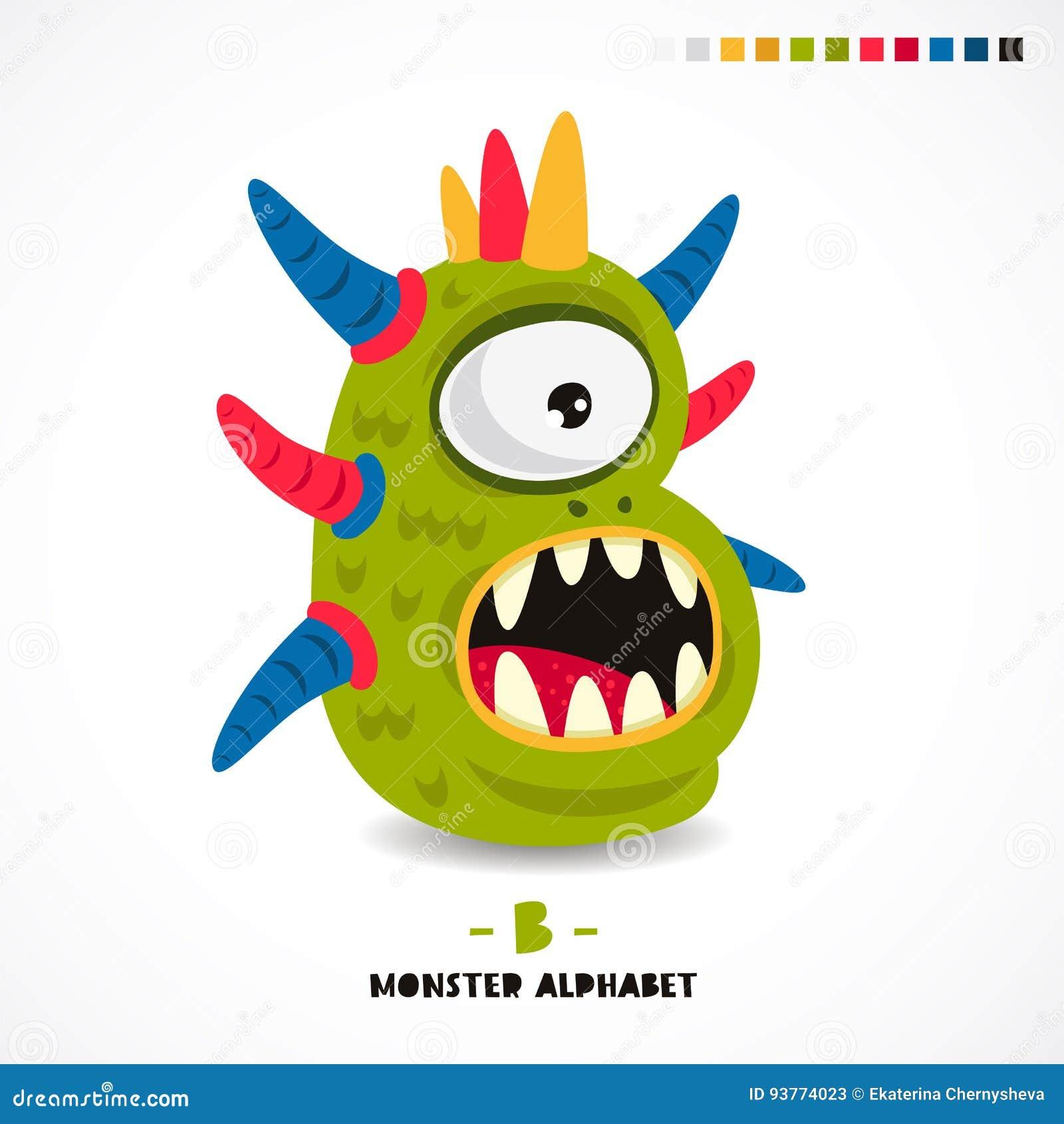 Monster-Alphabet Buchstabe B Vektor Abbildung - Illustration von ...