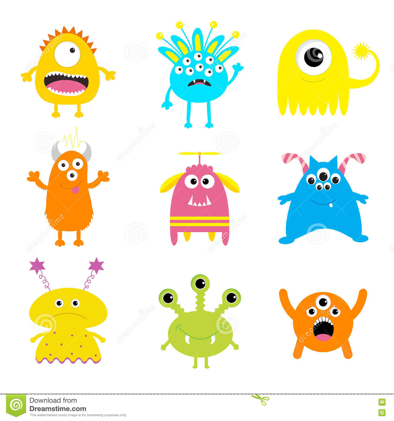 monster set cute cartoon scary character baby collection white