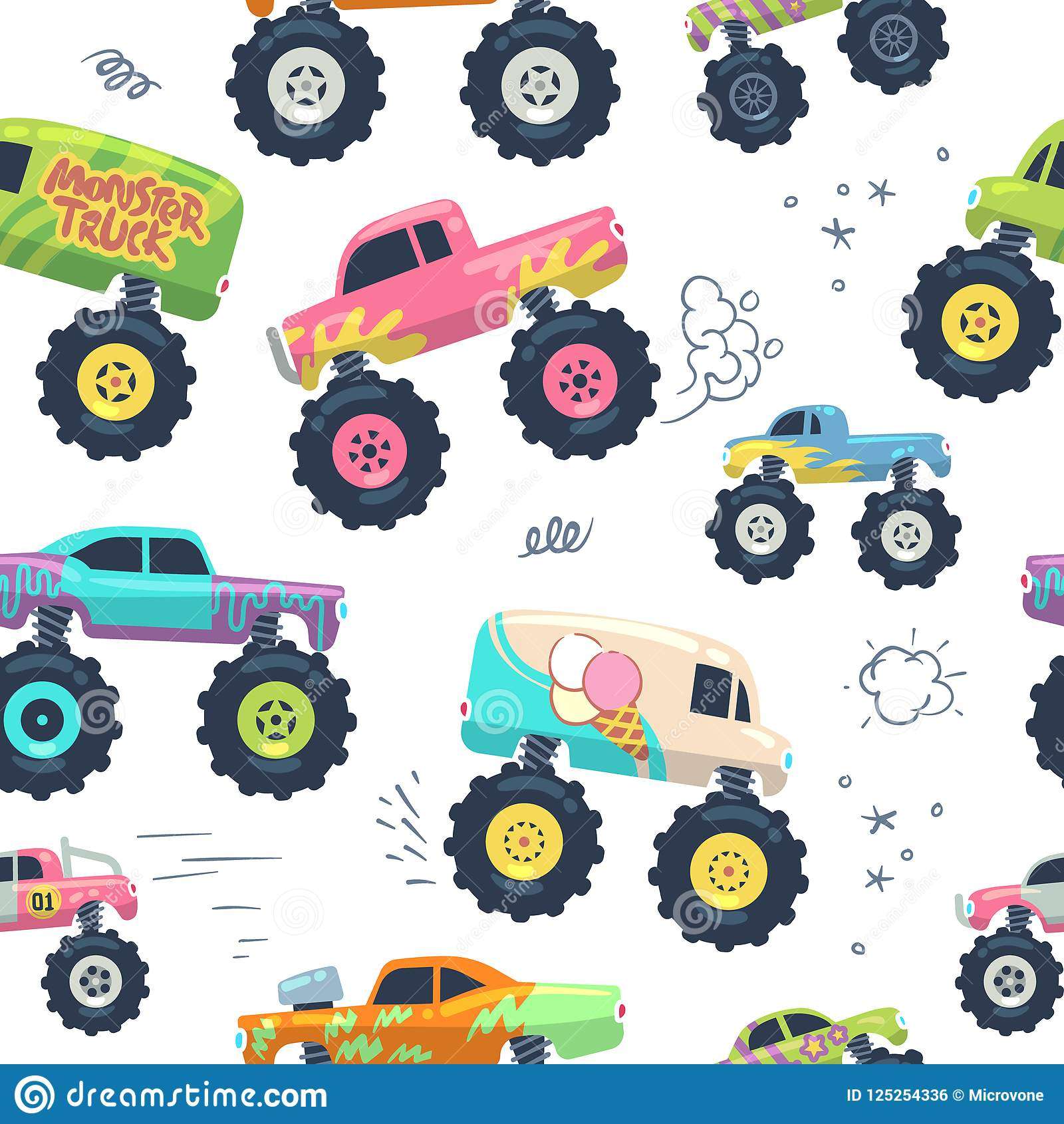 Monster cars seamless pattern. Kid trucks with big wheel. Vector endless background