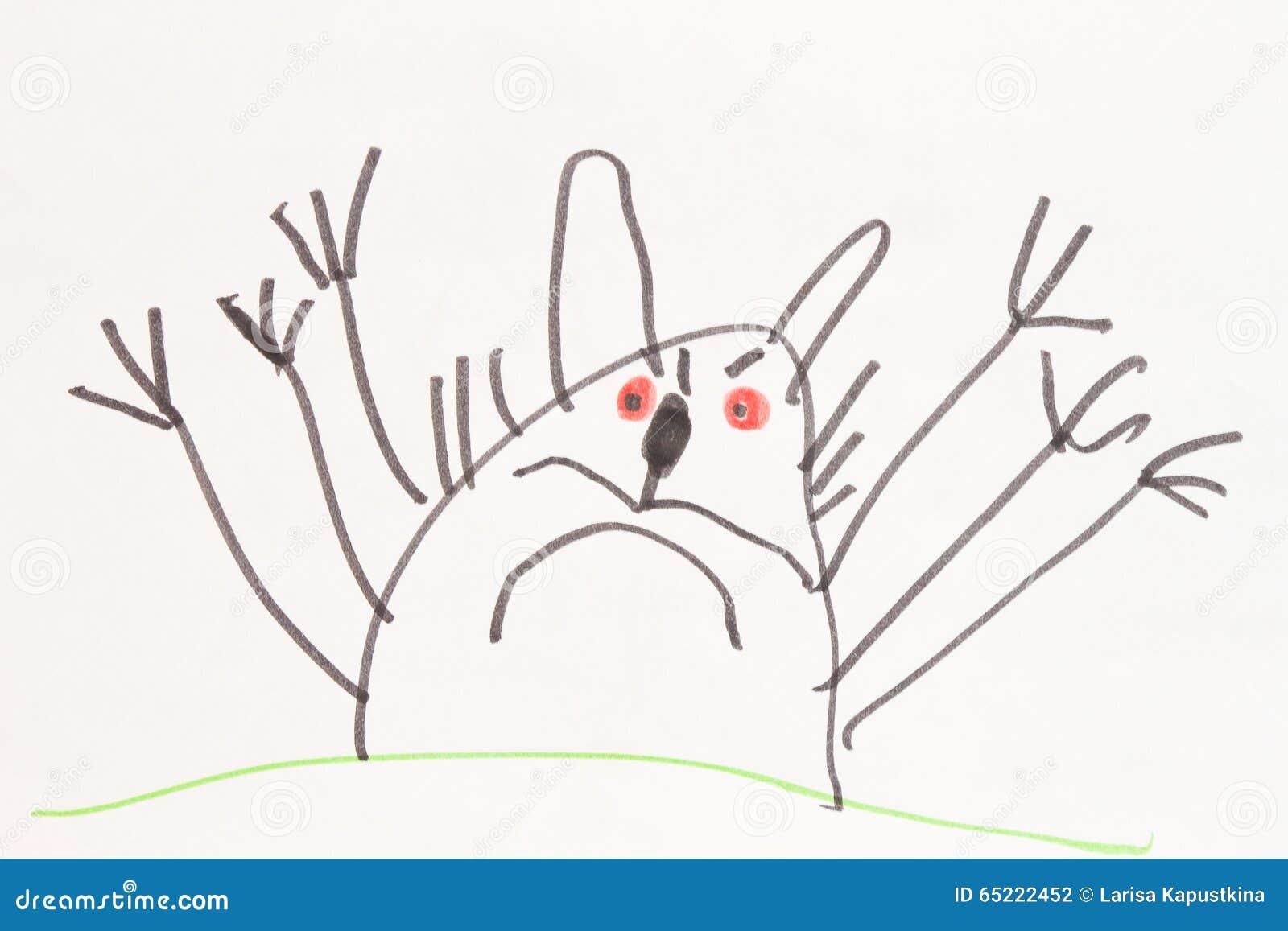 Monster Cat Child S Felt Pen Drawing Stock Illustration Illustration Of Black Character 65222452
