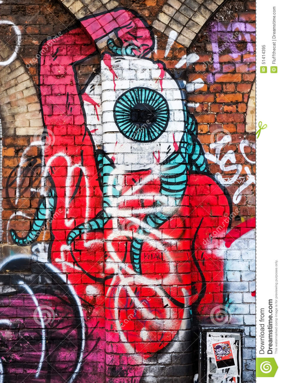 Abstract monster creature with very large eye for its head shoreditch london uk
