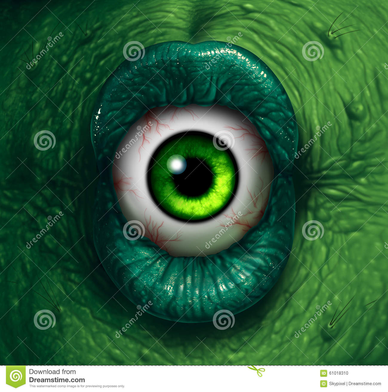 Monster eye halloween ogre demon closeup with evil green lips biting ...