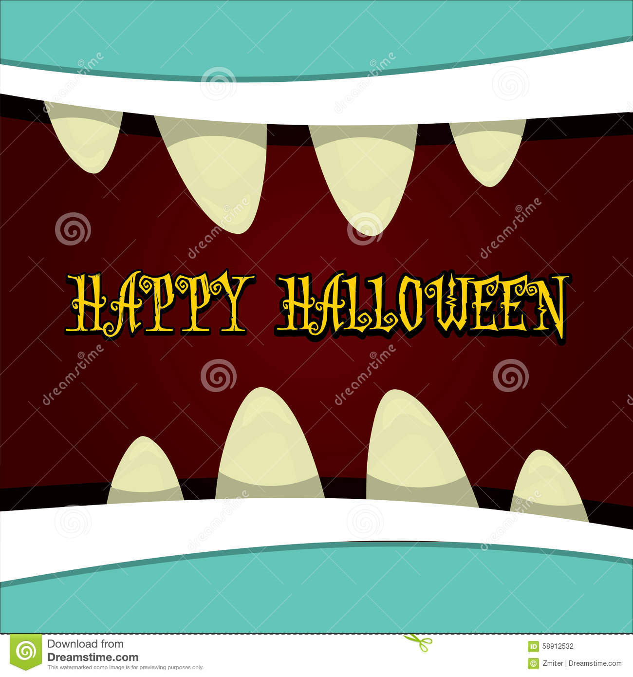 monster face vector. halloween greeting card stock vector