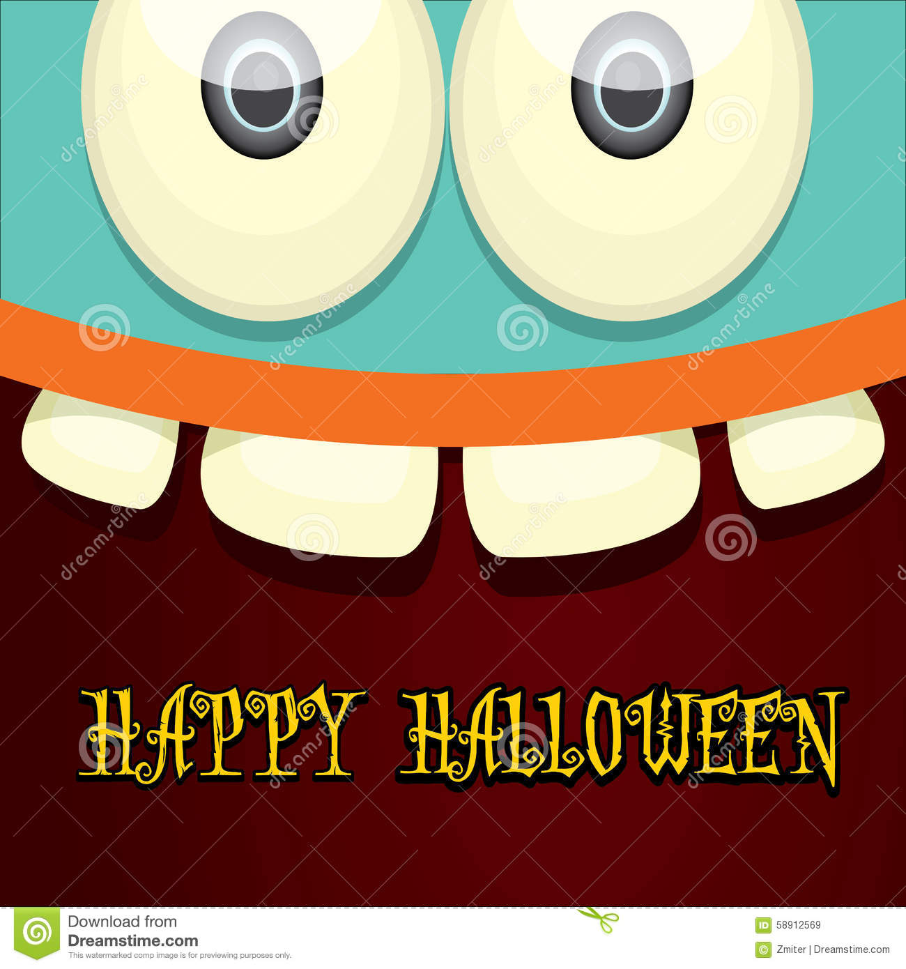 monster face vector halloween greeting card stock vector