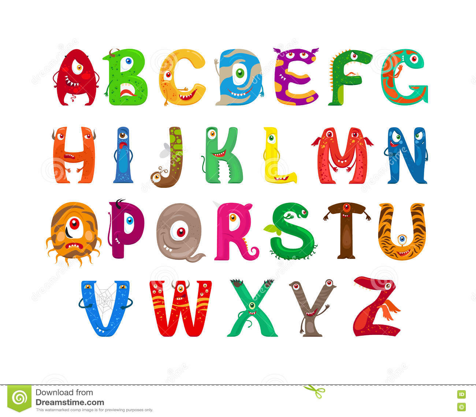 Monster funny alphabet stock vector. Illustration of ...