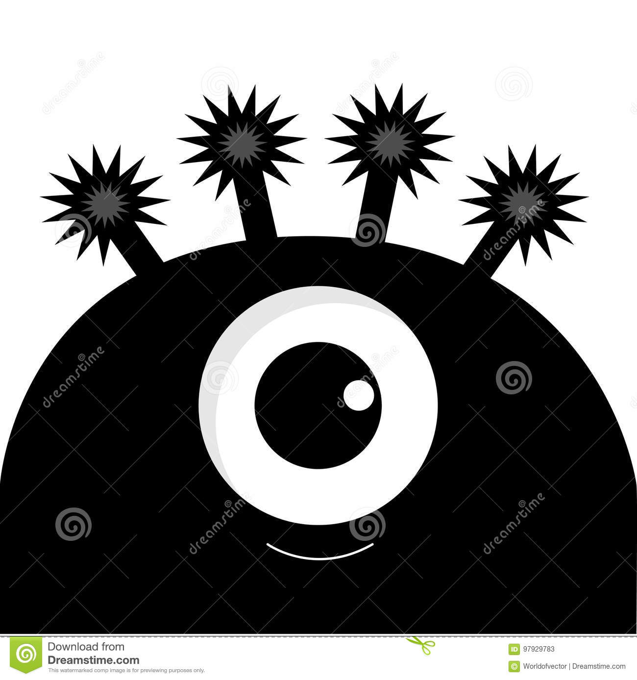 Monster Head Silhouette With One Eye Black Color Funny Cute Cartoon
