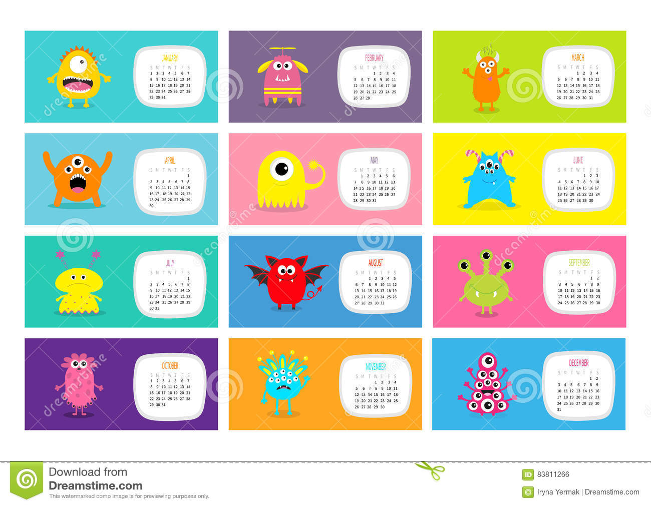 Character Design Monthly : Monster horizontal monthly calendar cute funny