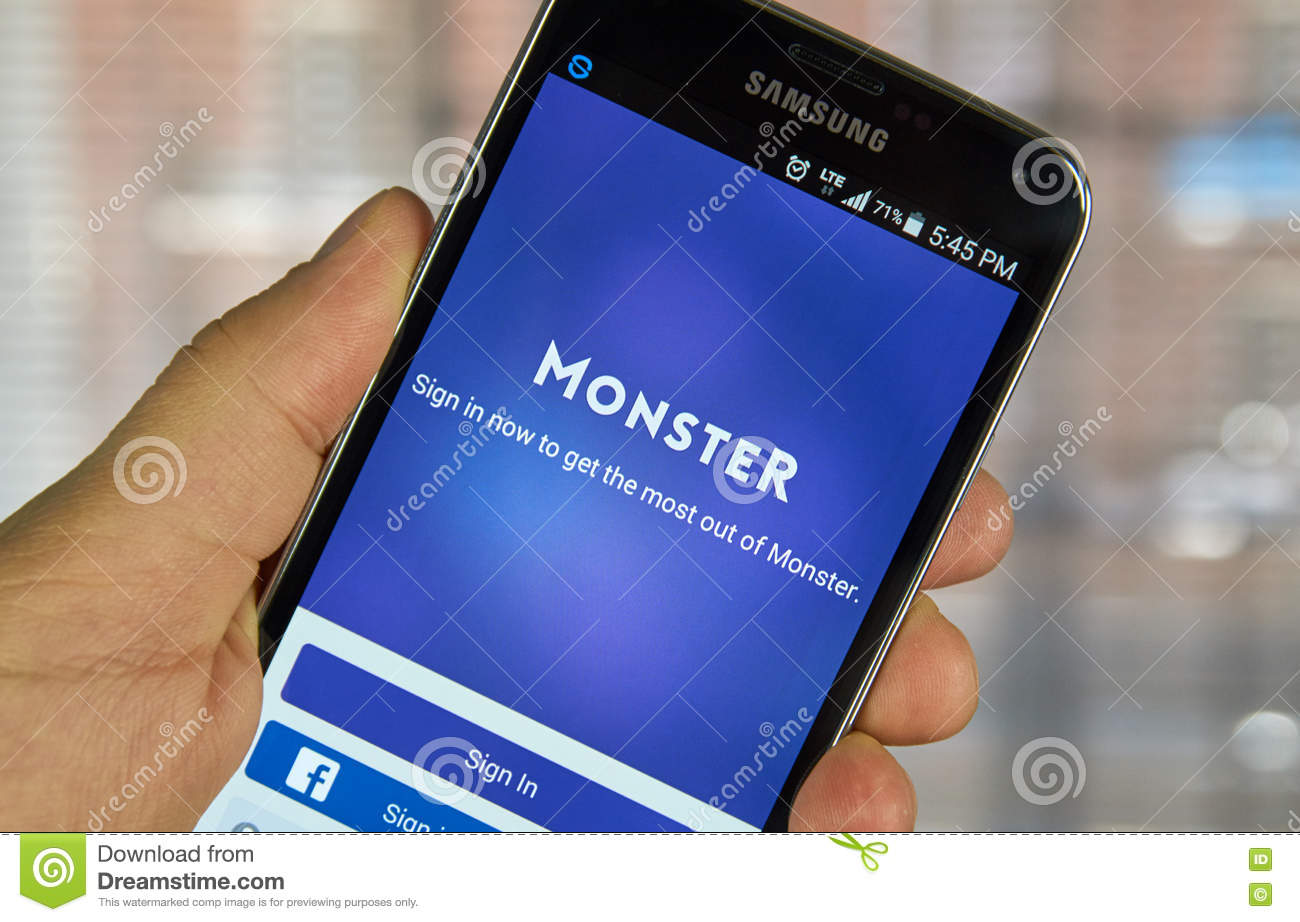 Monster job search app editorial photo  Image of connection