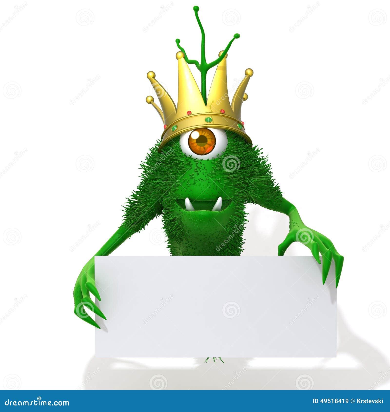monster king with white panel 3d illustration stock illustration